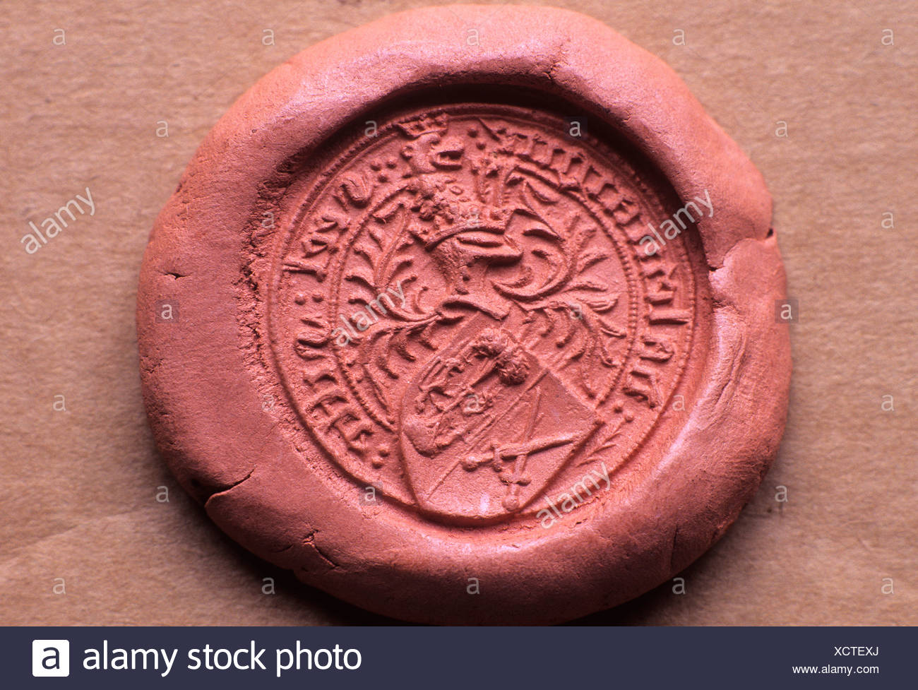 Impression in wax of Medieval 15th century Seal Matrix - Stock Image