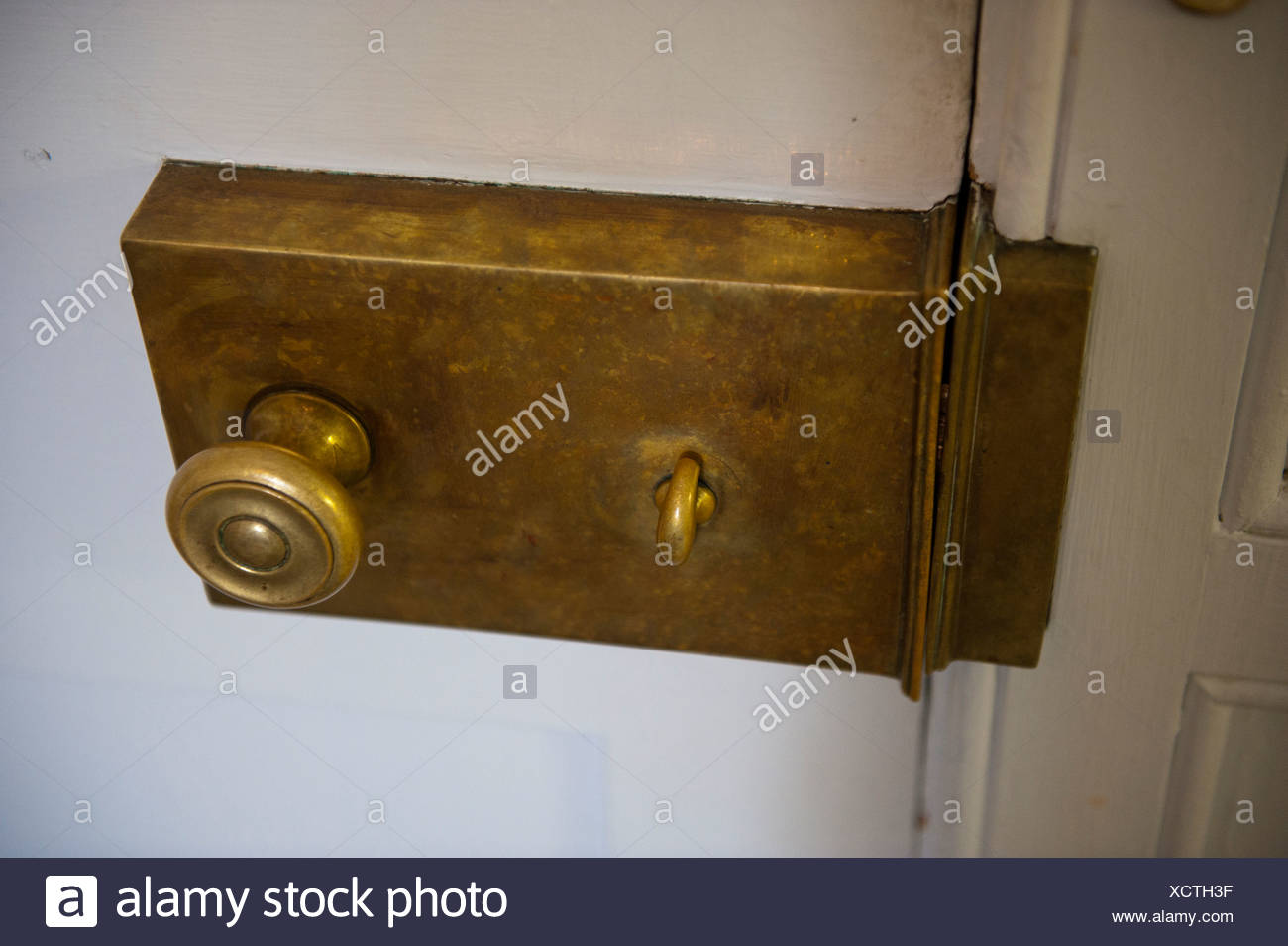 Close up of an antique lock on a door. Stock Photo