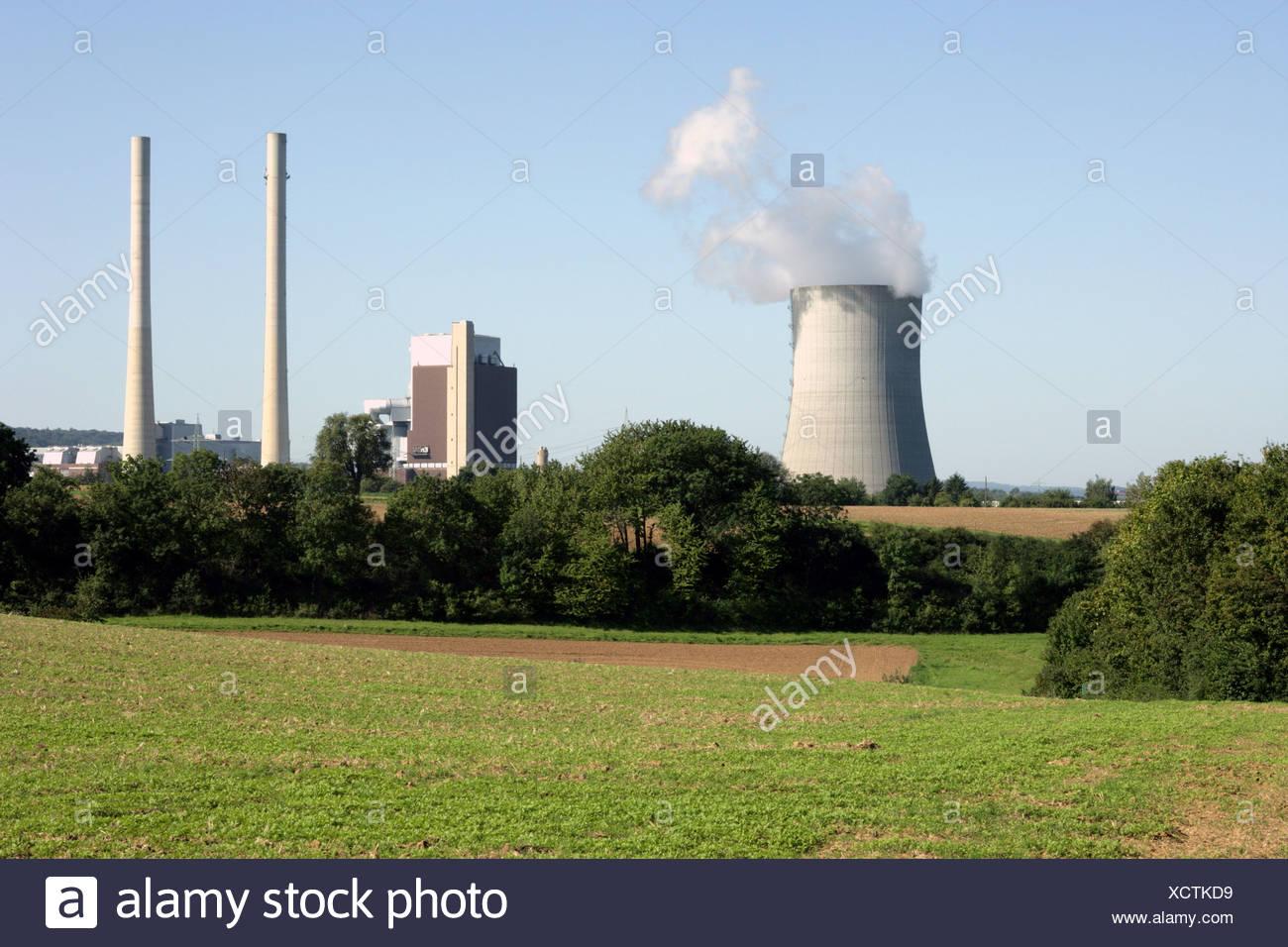 Germany Baden-Württemberg Heilbronn steam power-work chimneys smoke Europe economy industry energy Heizkraftwerk coal-fired Stock Photo
