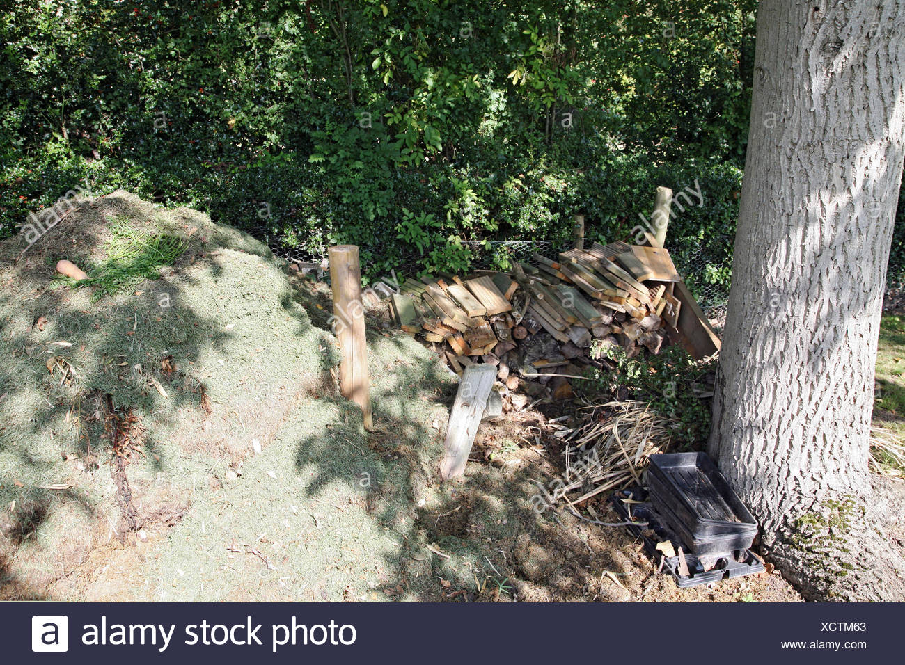 GRASS CLIPPINGS COMPOST HEAP WITH LOG PILE - Stock Image