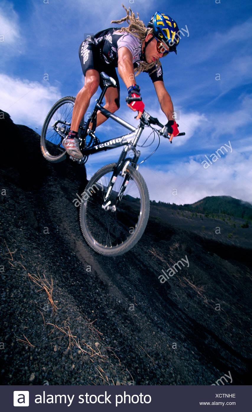 Mountainbiker, La Palma, Canary Islands, Spain - Stock Image