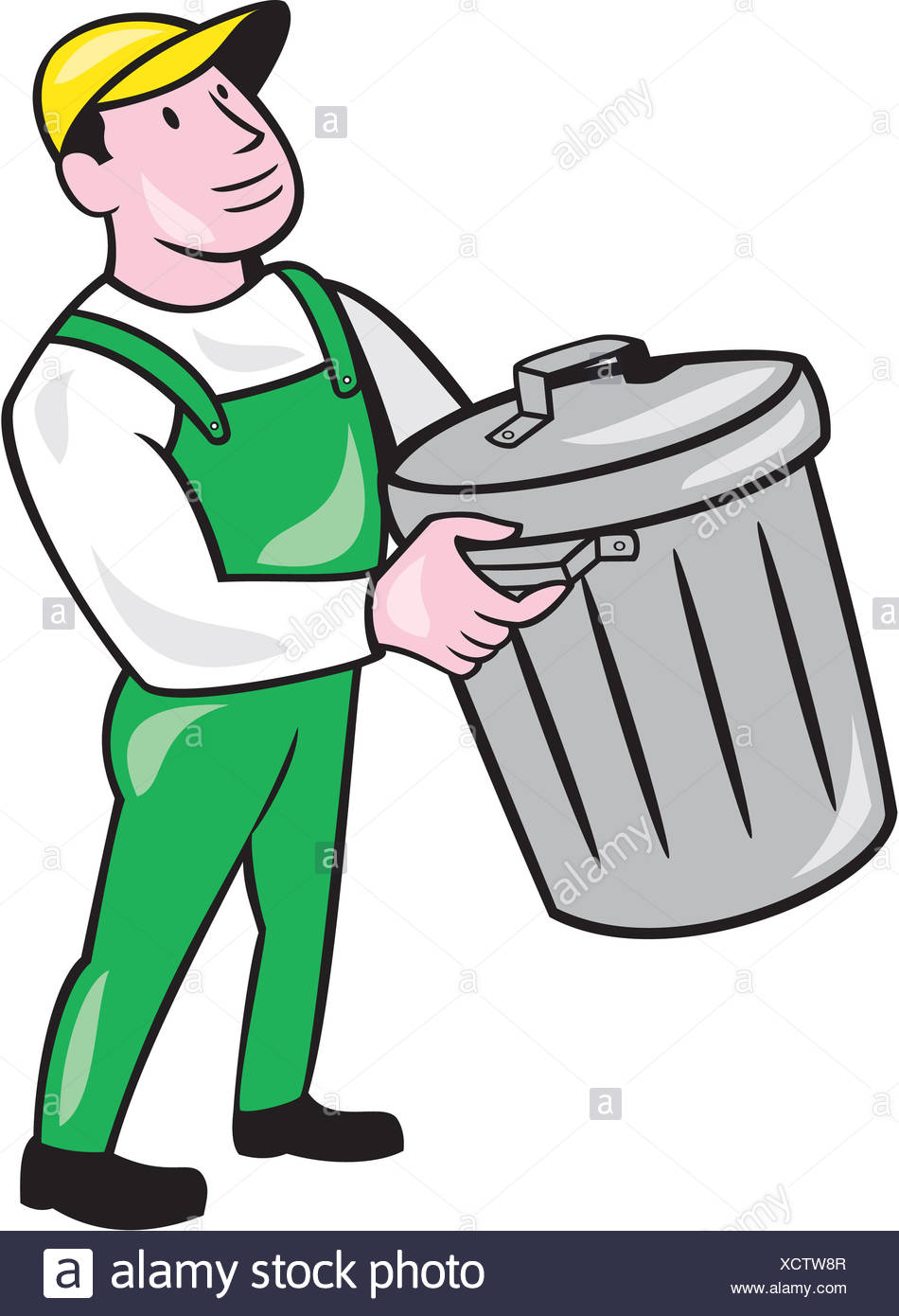 Garbage Man And Carrying Bin Stock Photos & Garbage Man ...  Garbage Man And...