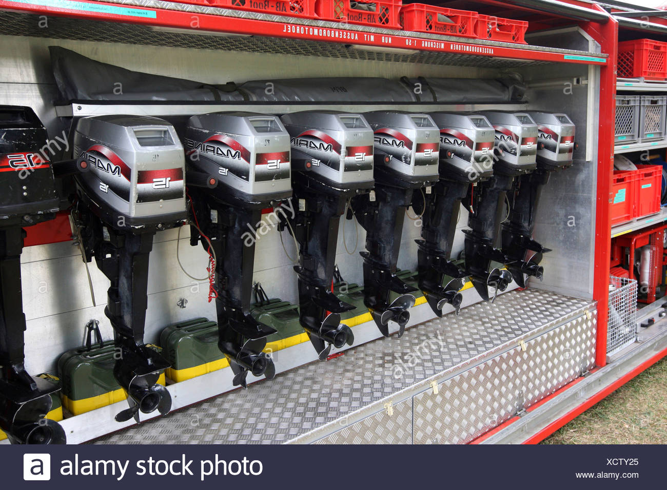 Outboard motors in the patrol car of the fire brigade in Mannheim, Hessen, Germany, Europe - Stock Image