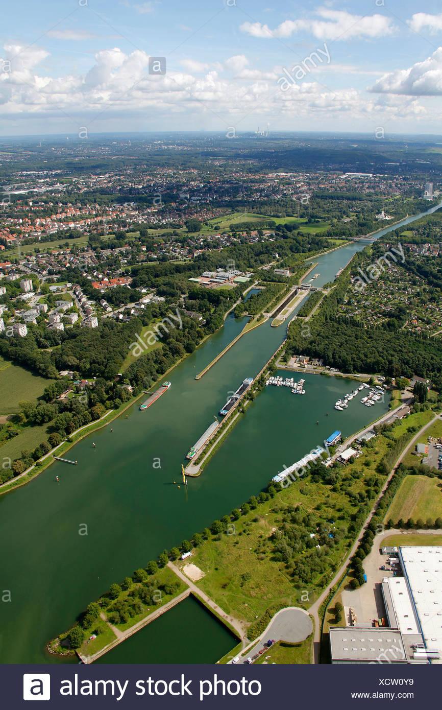 Aerial view, Mark Dion research station, Gesellschaft der Amateur-Ornithologen art project, Emscherkunst.2010 art project - Stock Image