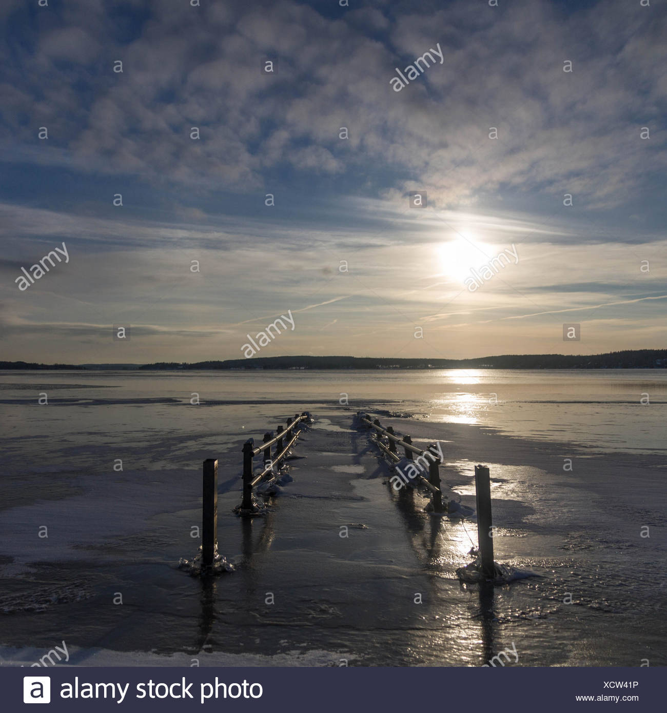 Submerged pier in winter - Stock Image