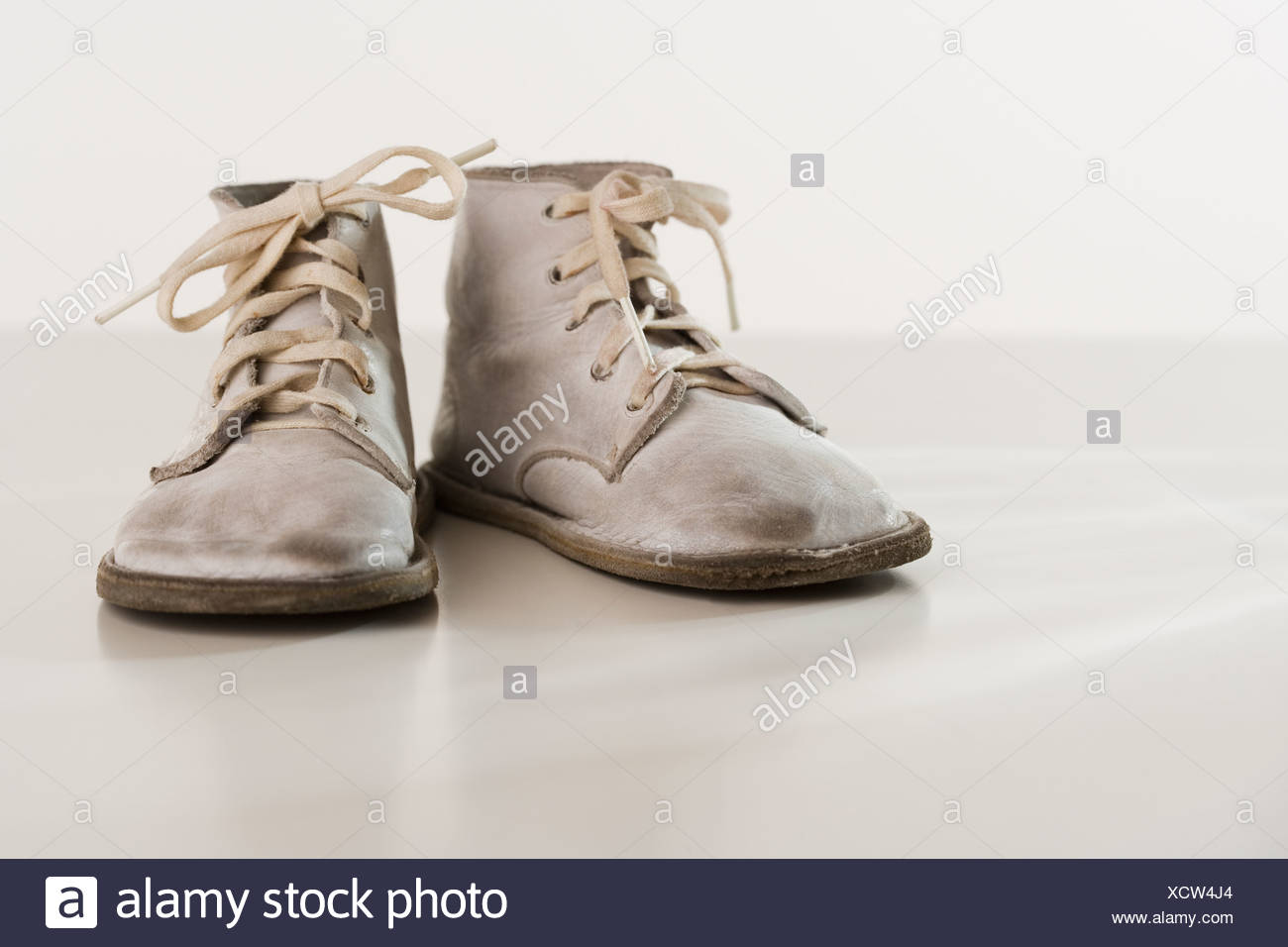 old fashioned baby shoes Stock Photo