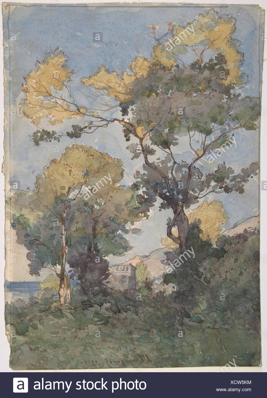 Landscape. Artist: Henri-Joseph Harpignies (French, Valenciennes 1819-1916 Saint-Privé); Date: 1900; Medium: Watercolor, graphite; Dimensions: - Stock Image