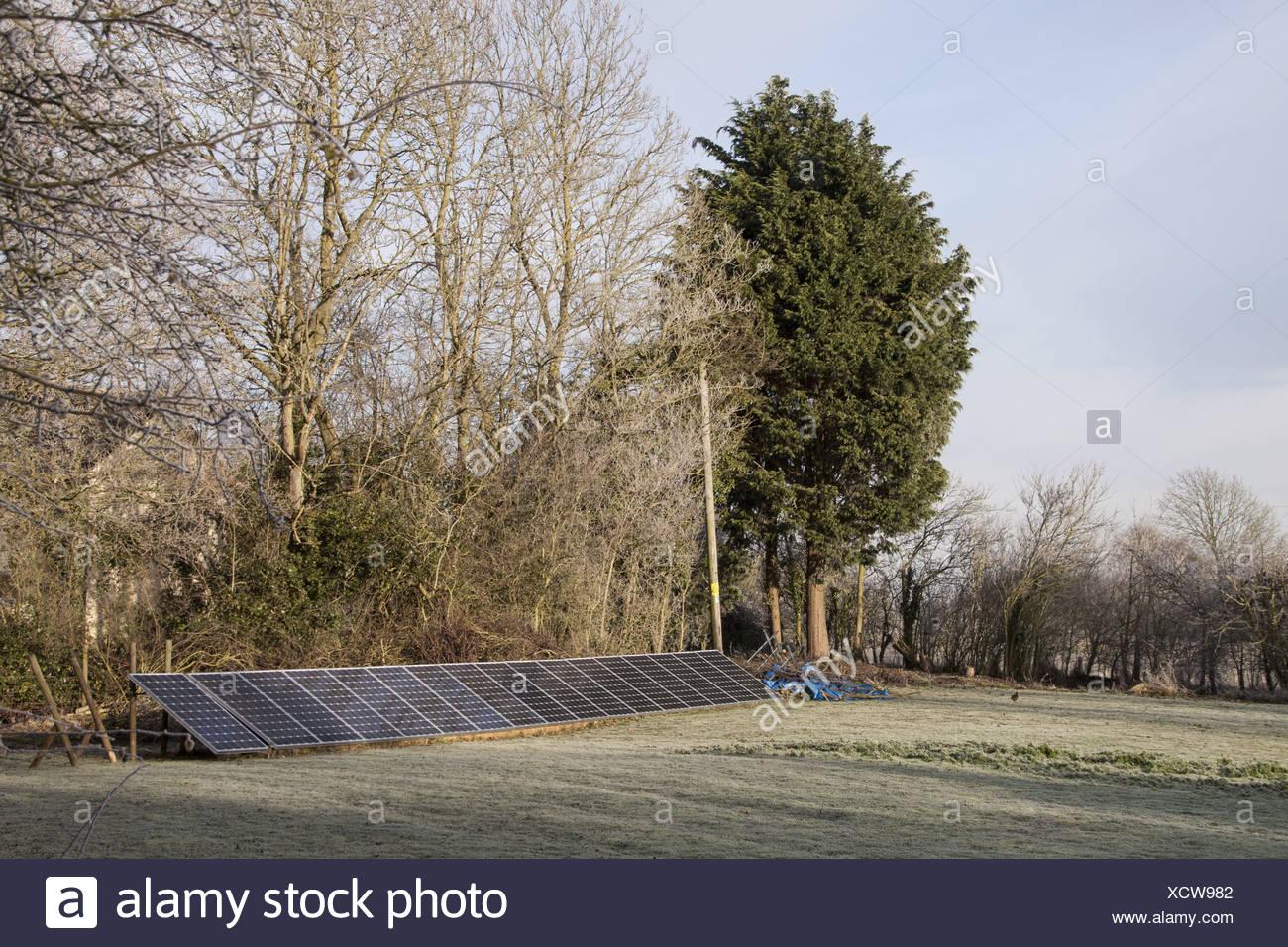 Ground mounted solar panels - Stock Image