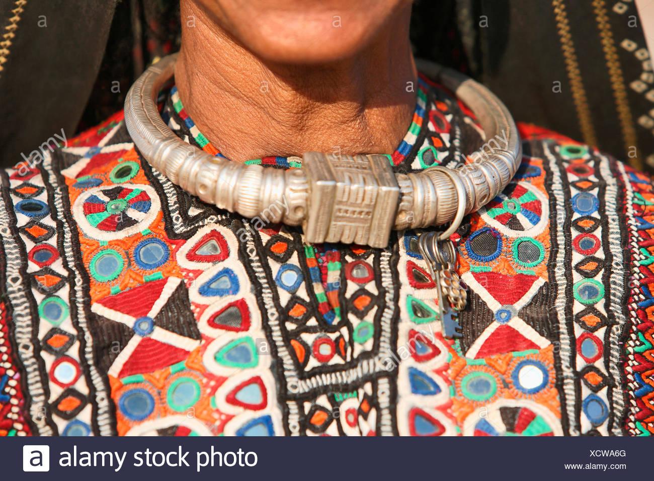 Fakirani Jat tribe, traditional silver jewelry, Kutch District, Gujarat, India - Stock Image