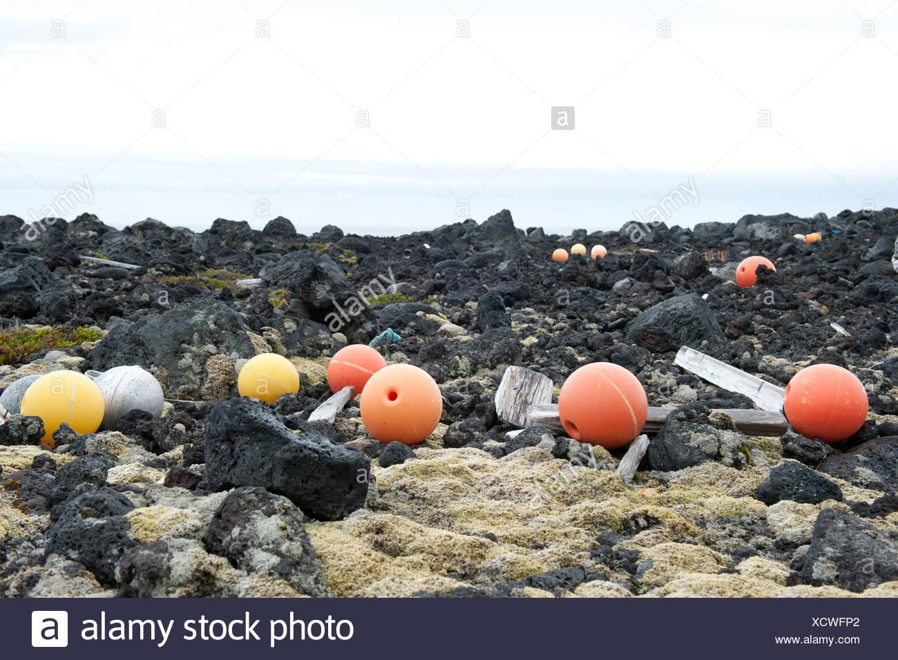 Buoys, swimmers, floating debris, stranded goods, near Dritvík, Snæfellsnes peninsula, Ísland, Iceland, Scandinavia - Stock Image