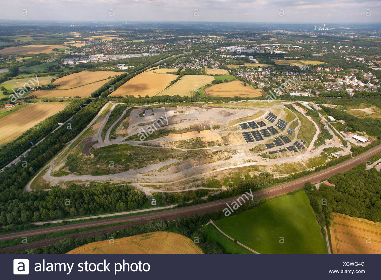 Aerial view, Kornharpen main waste disposal site with solar panels, Bochum, Ruhr Area, North Rhine-Westphalia, Germany, Europe - Stock Image