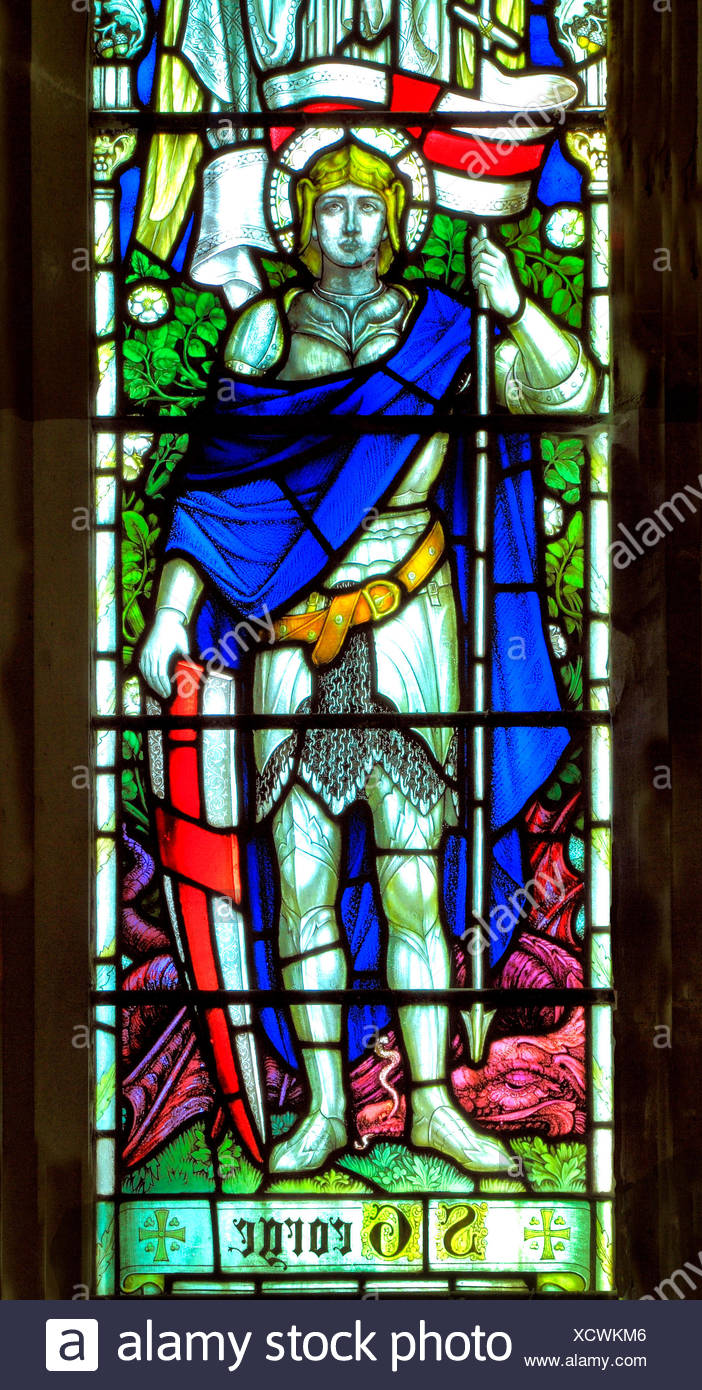 St. George, stained glass window, All Saints Church, Warham, Norfolk, England, UK, English School, early 20th Century - Stock Image