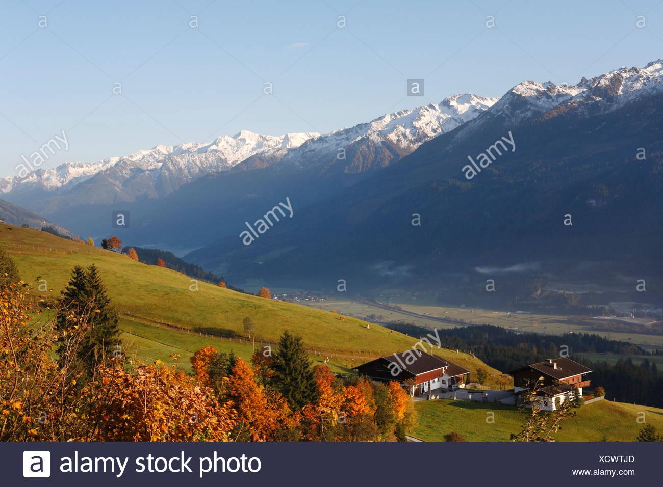 View from Passthurn over Pinzgau of Hohe Tauern Mountains, Salzburg, Austria, Europe Stock Photo