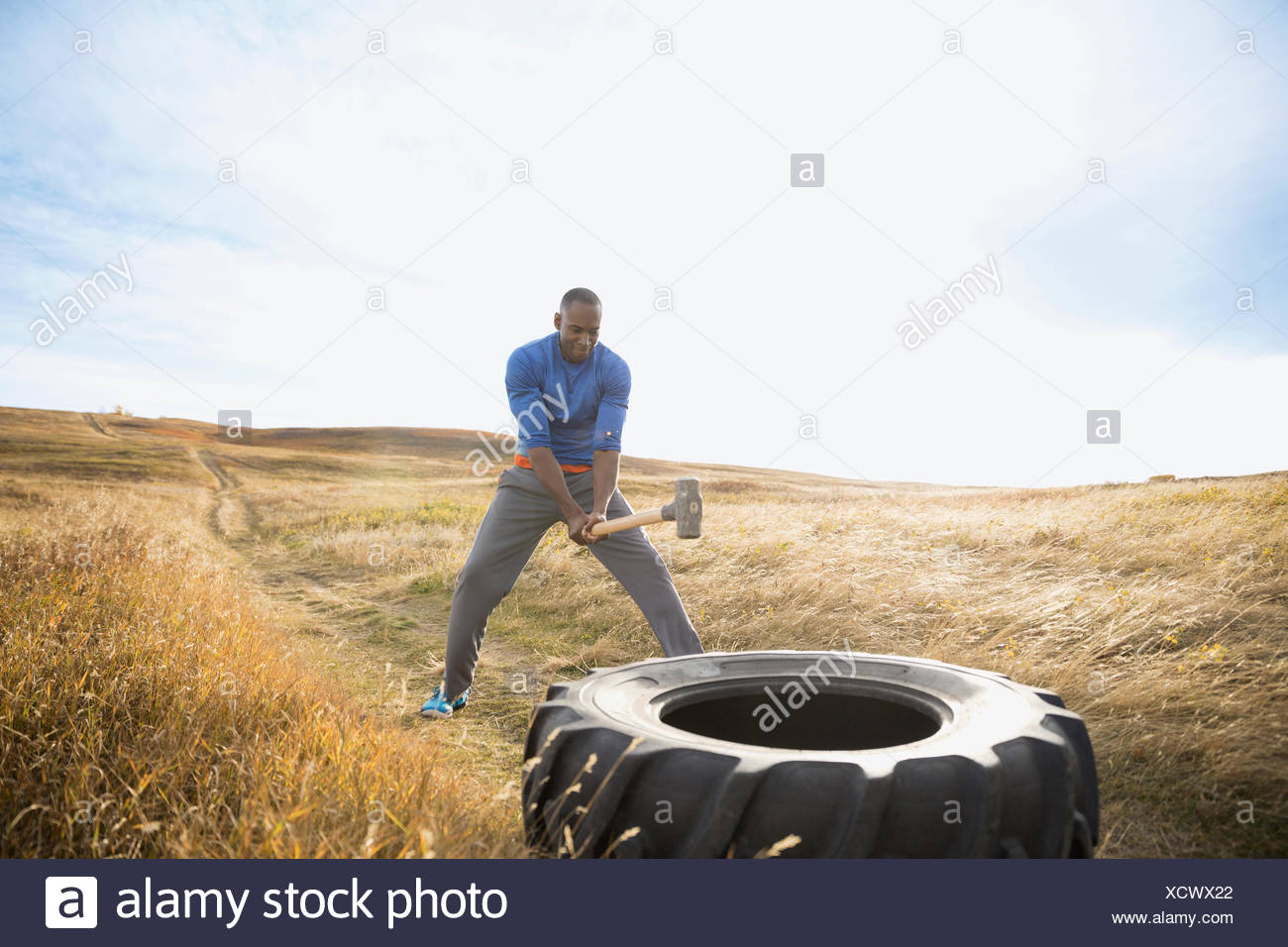 Man hammering crossfit tire in sunny rural field - Stock Image