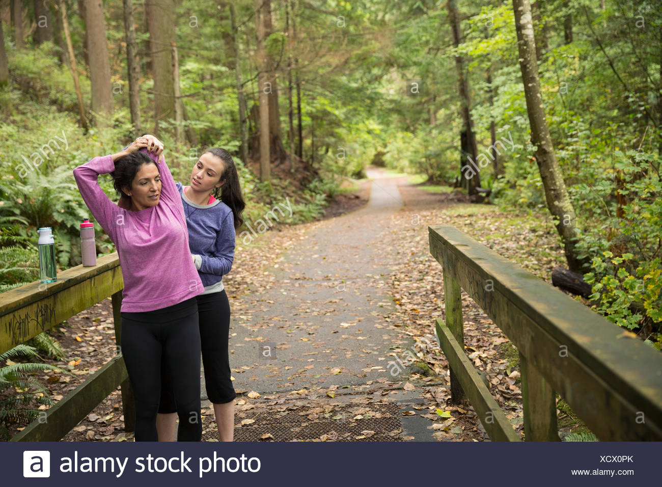 Daughter helping mother stretch preparing for run woods - Stock Image