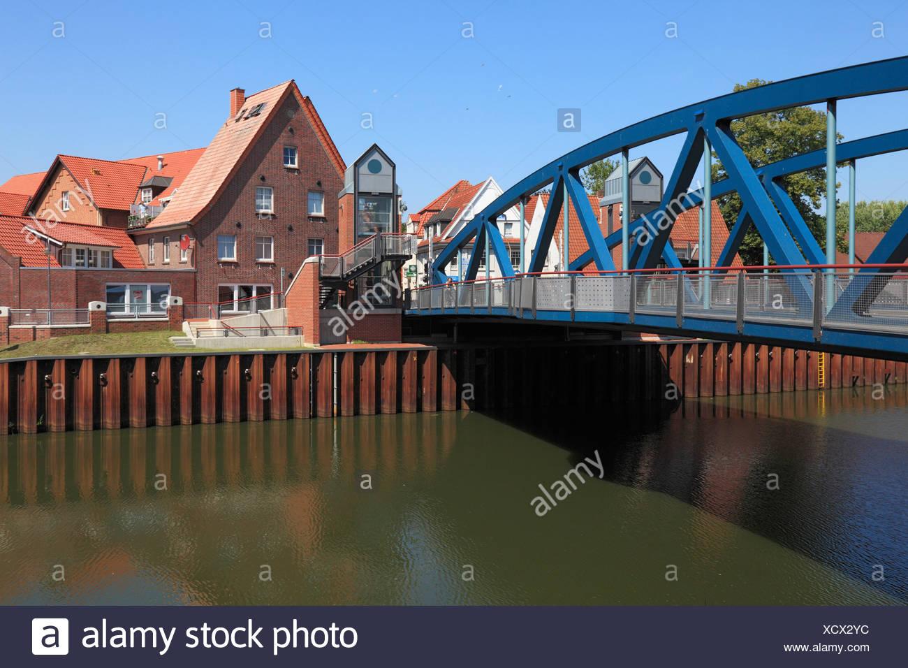 Heave bridge, bridge, Dortmund Ems canal, Hase, Meppen, Emsland, Lower Saxony, Germany, Europe - Stock Image