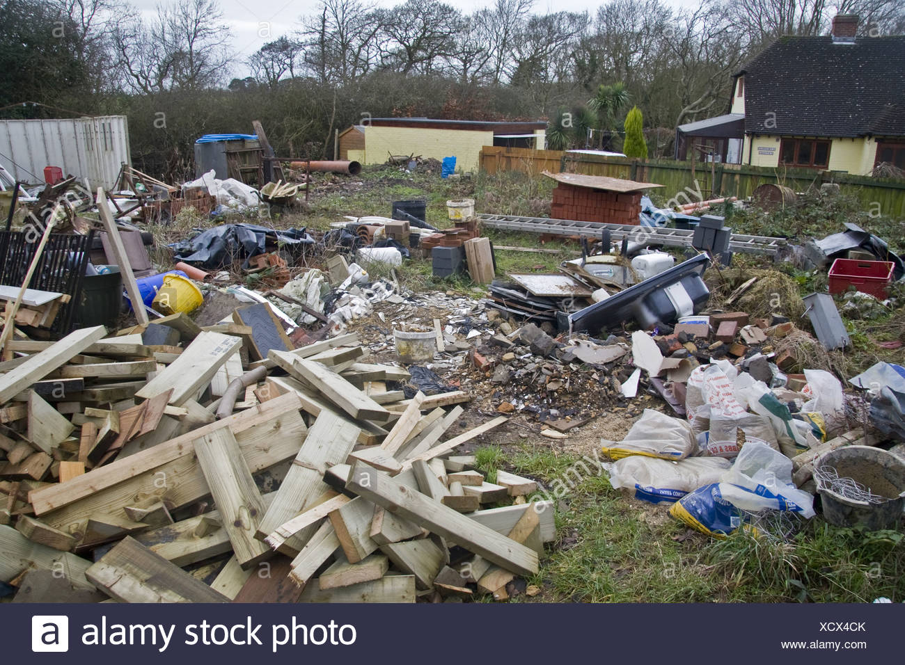 Delightful Chaos Untidy Disorganised Mess Lazy Garden Backyard Junk Rubbish Builders  Milford On Sea Hampshire England UK
