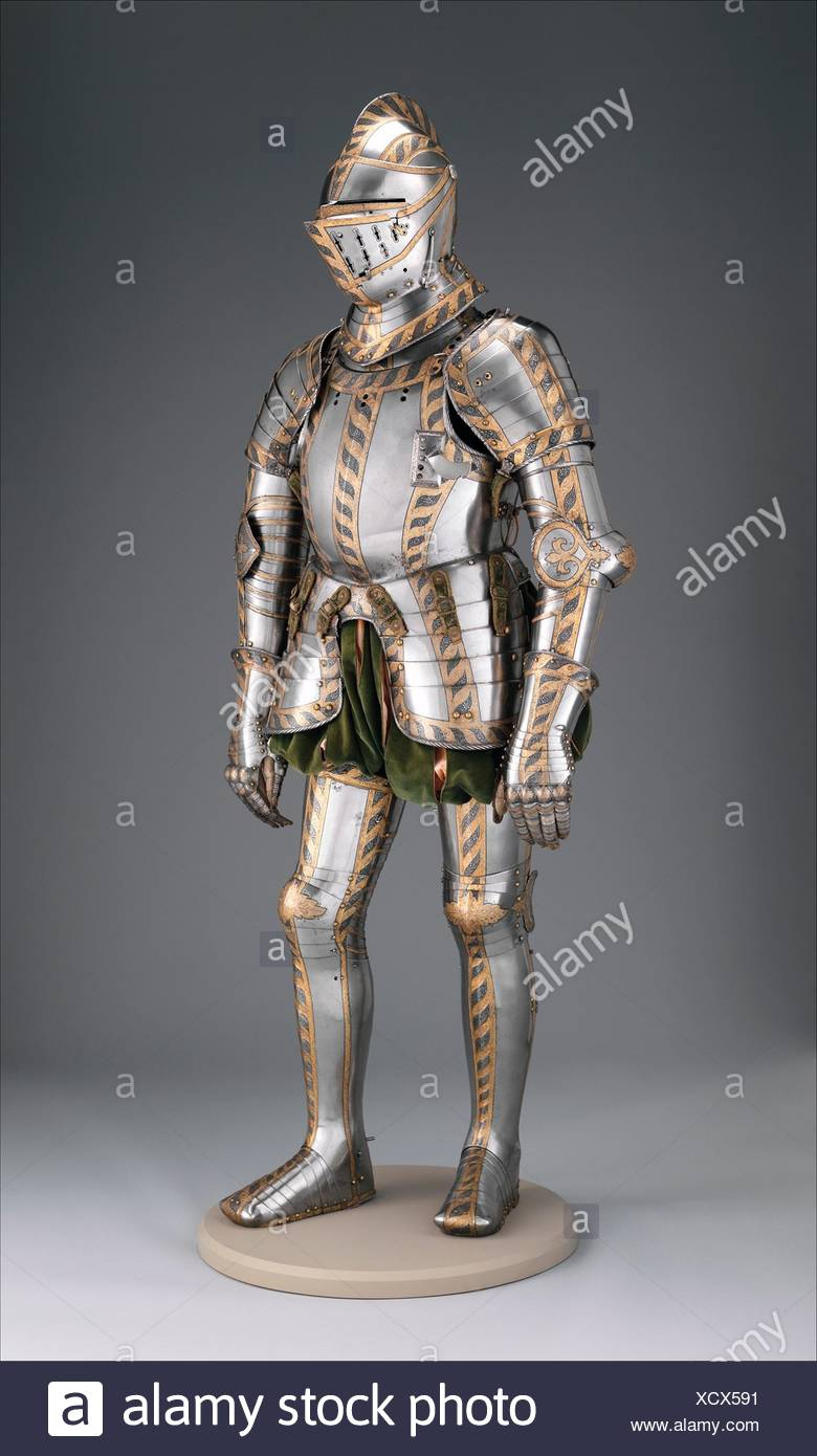 Field and Tournament Armor. Armorer: Attributed to Anton Peffenhauser (German, Augsburg, 1525-1603); Etcher: Etched decoration attributed to Jörg - Stock Image