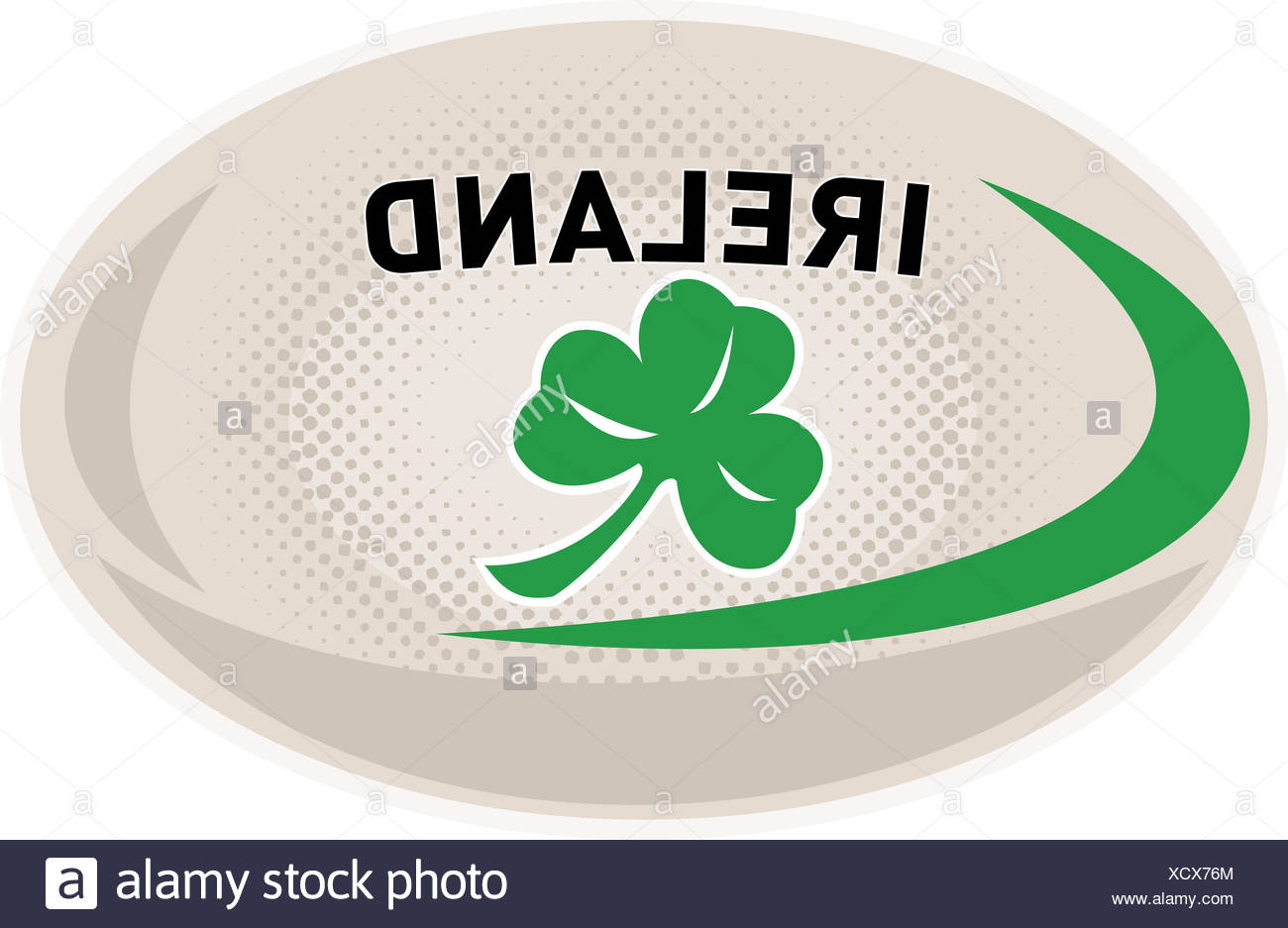 6 Ireland Green /& White Rugby Ball With Shamrock