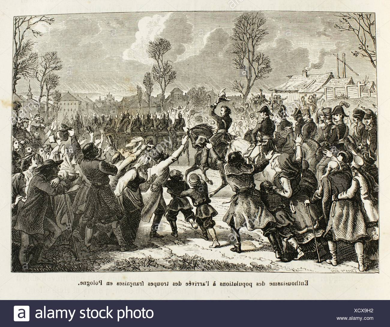 Napoleon troops entering in Poland, 19th century - Stock Image