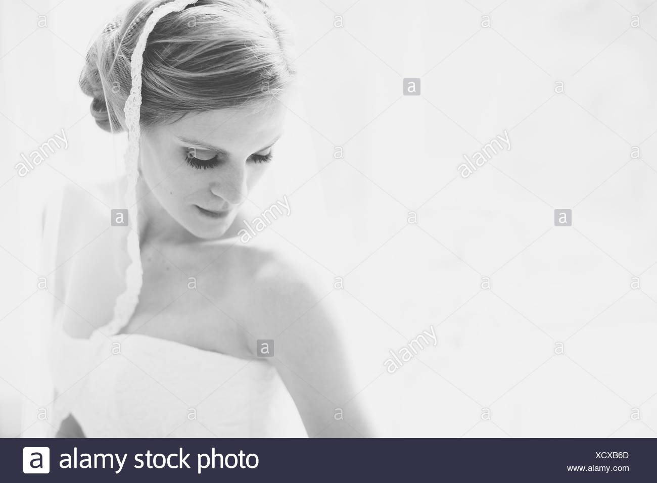 Portrait of a bride at wedding - Stock Image
