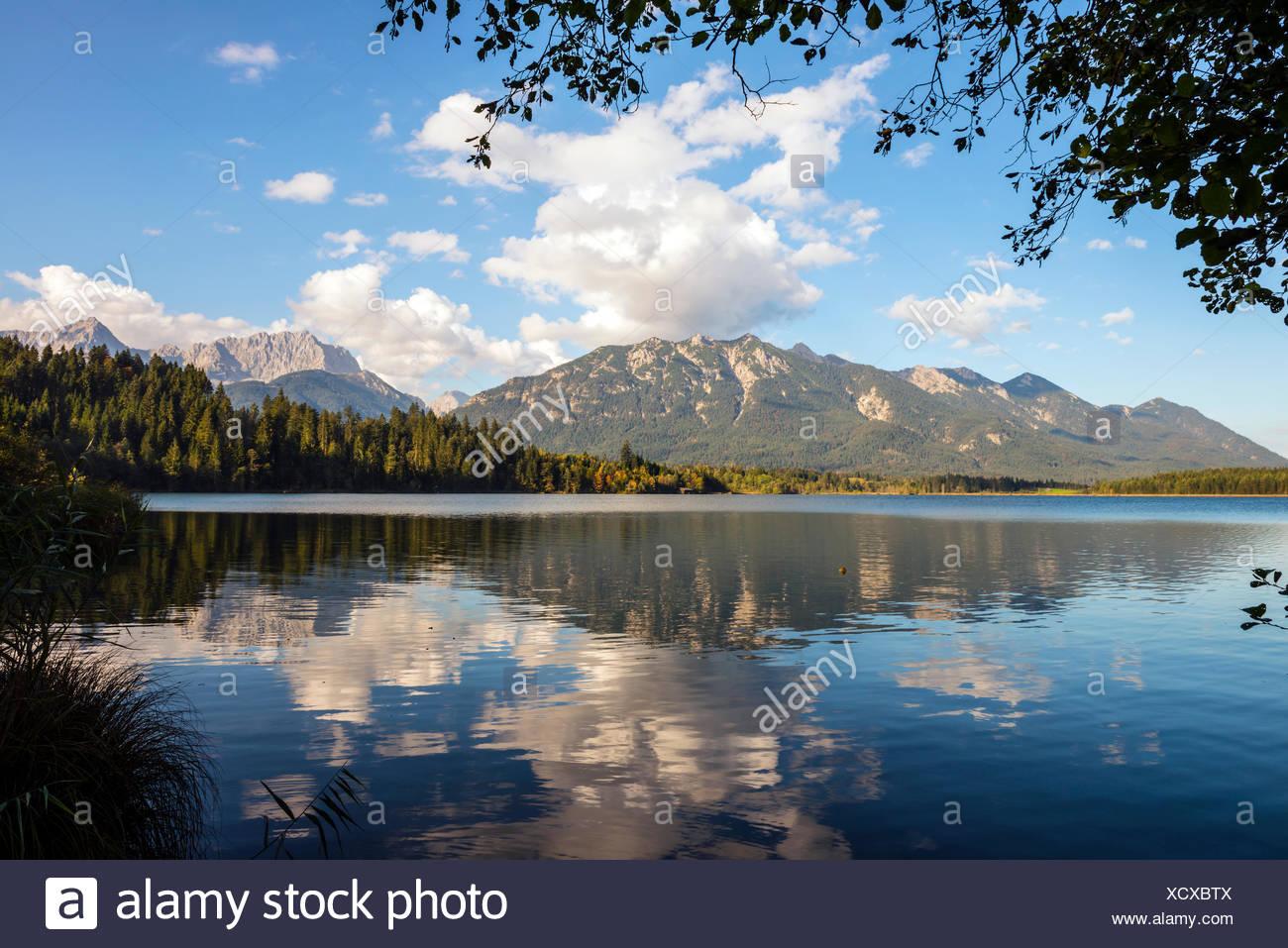Barmsee bei KrŸn, Soiergruppe, Karwendel, Werdenfelser Land, Oberbayern, Bayern, Deutschland, Stock Photo