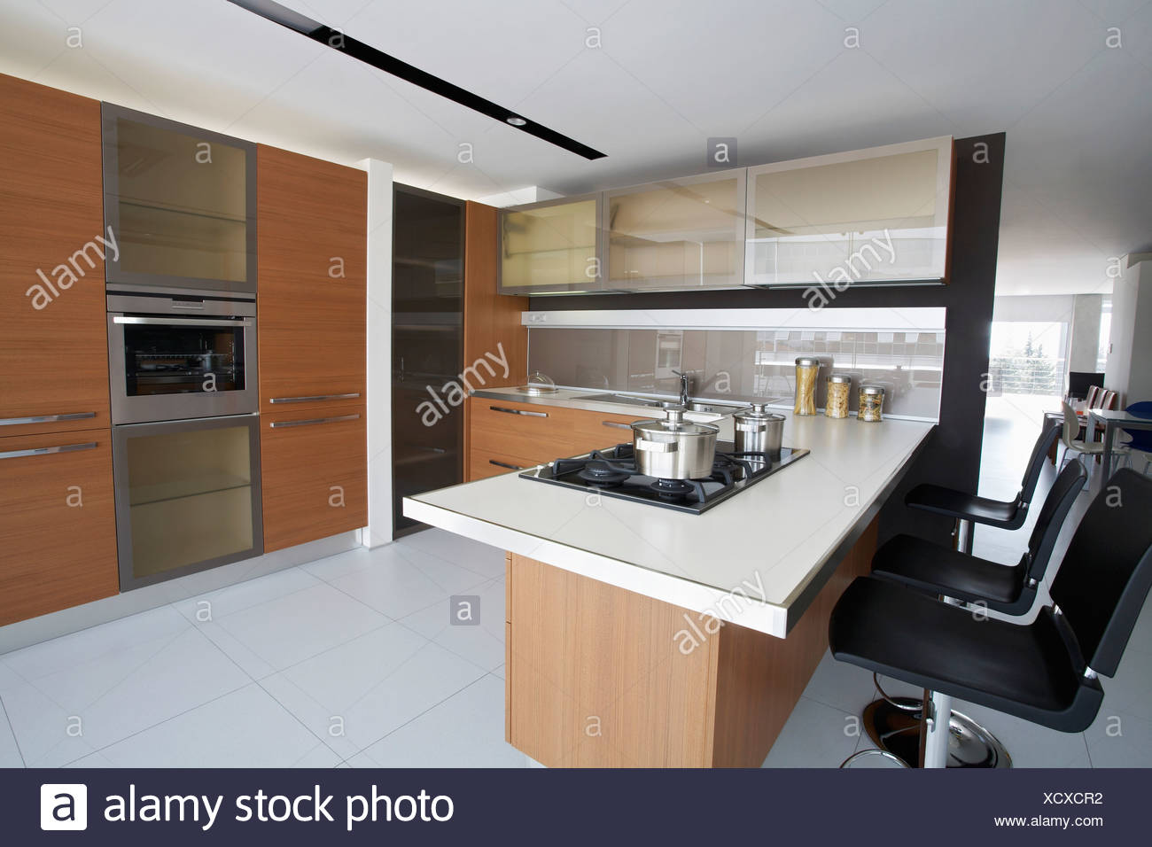 Kitchen in contemporary furniture store stock image