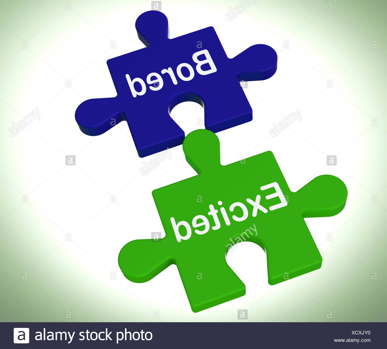 Bored Excited Puzzle Means Exciting And Fun Or  Boring Stock Photo