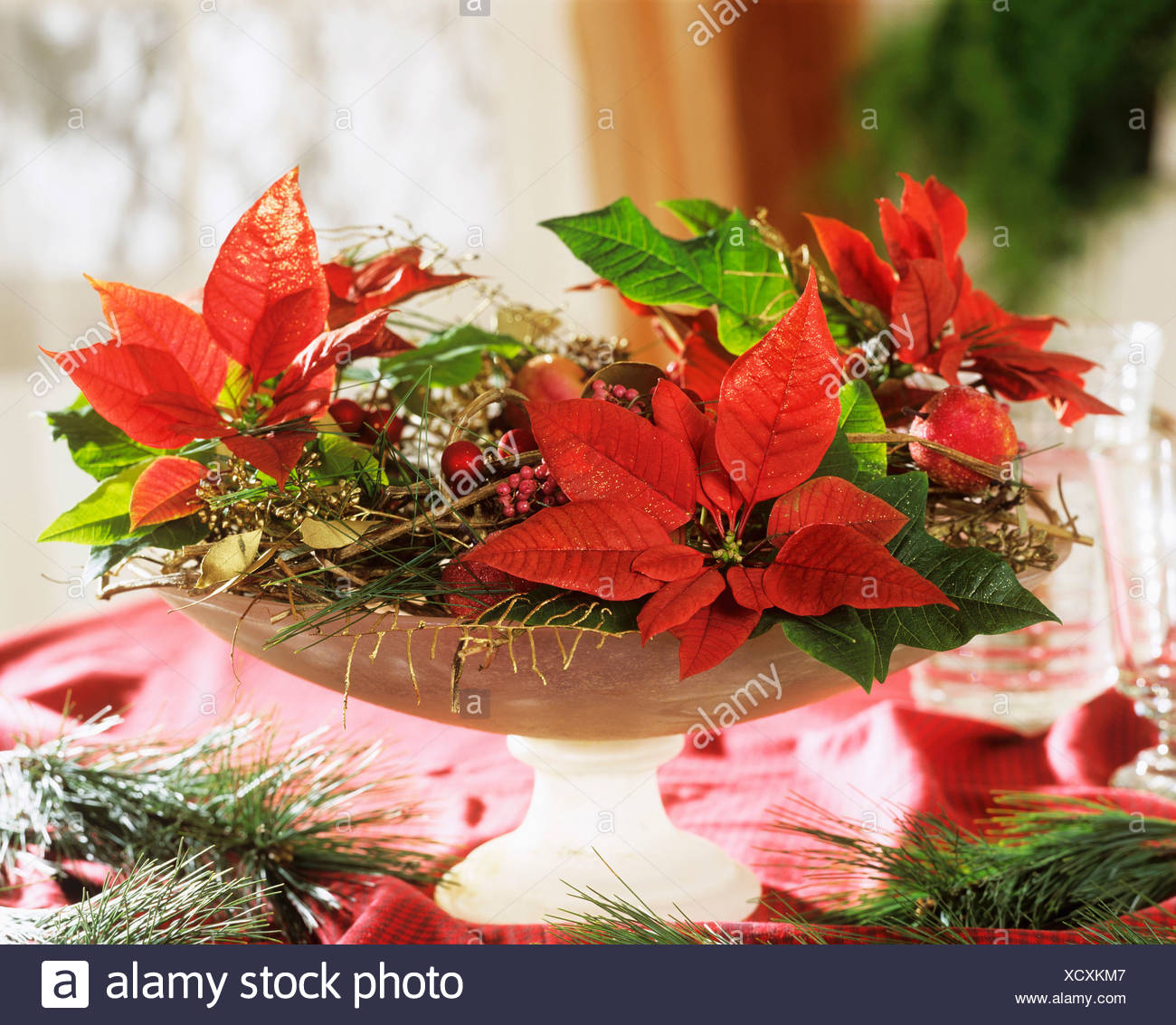 poinsettias in glass bowl with christmas decorations - Poinsettia Christmas Decorations