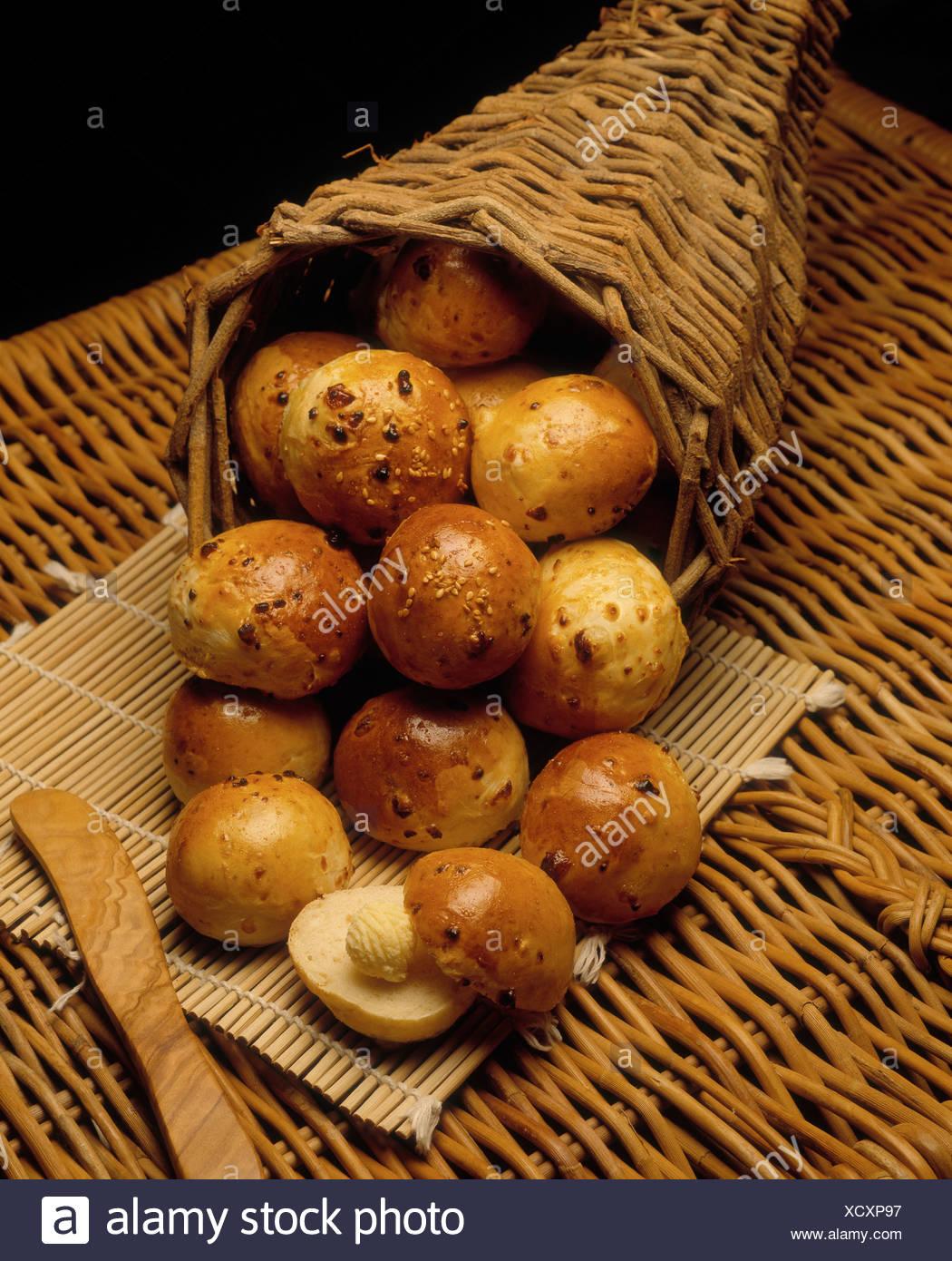 Cornucopia of fresh rolls - Stock Image