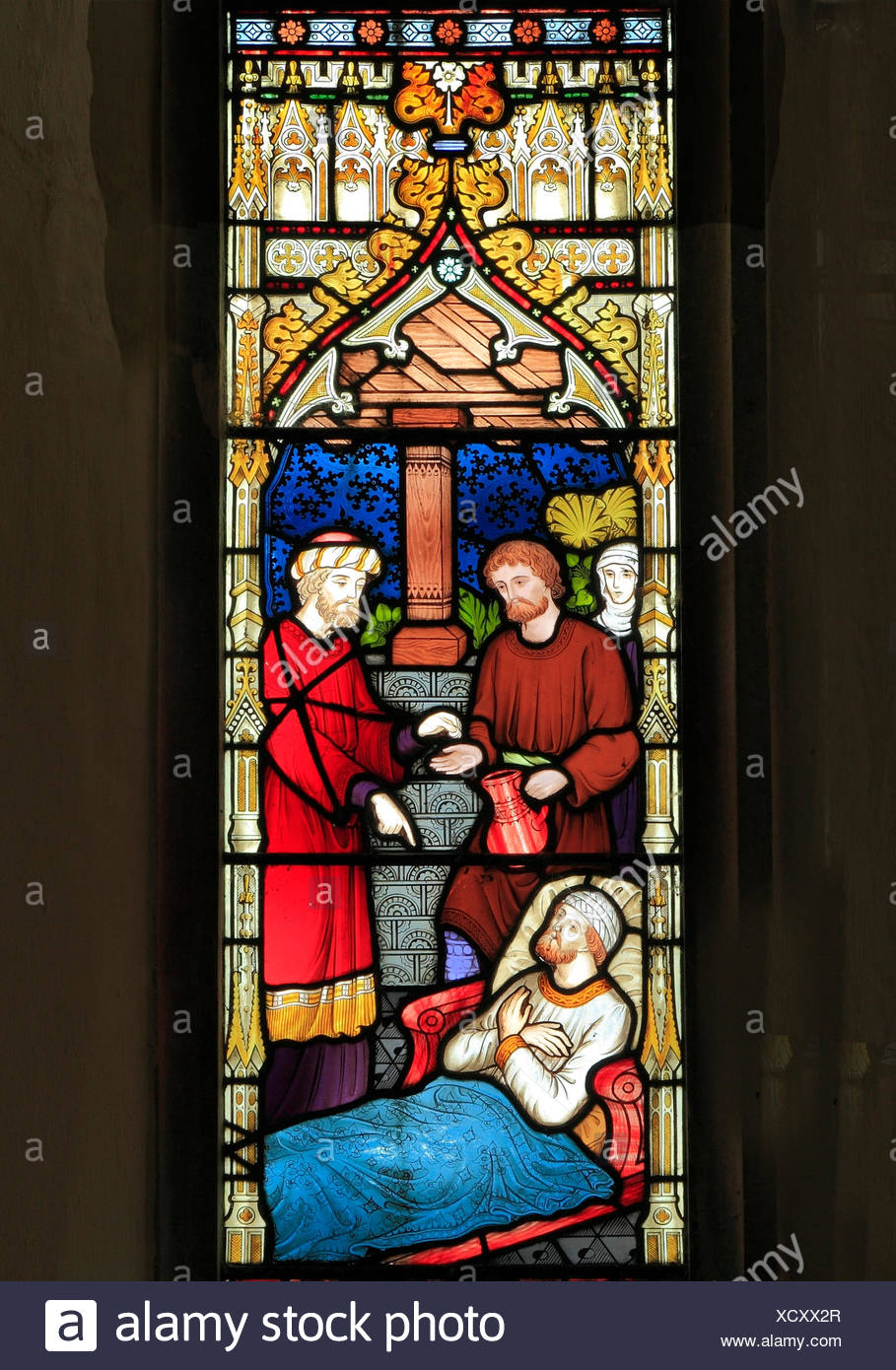 Parable of The Good Samaritan, stained glass by Frederick Preedy, 1865, Samaritan pays Innkeeper to care for the Traveller, Gunthorpe, Norfolk - Stock Image