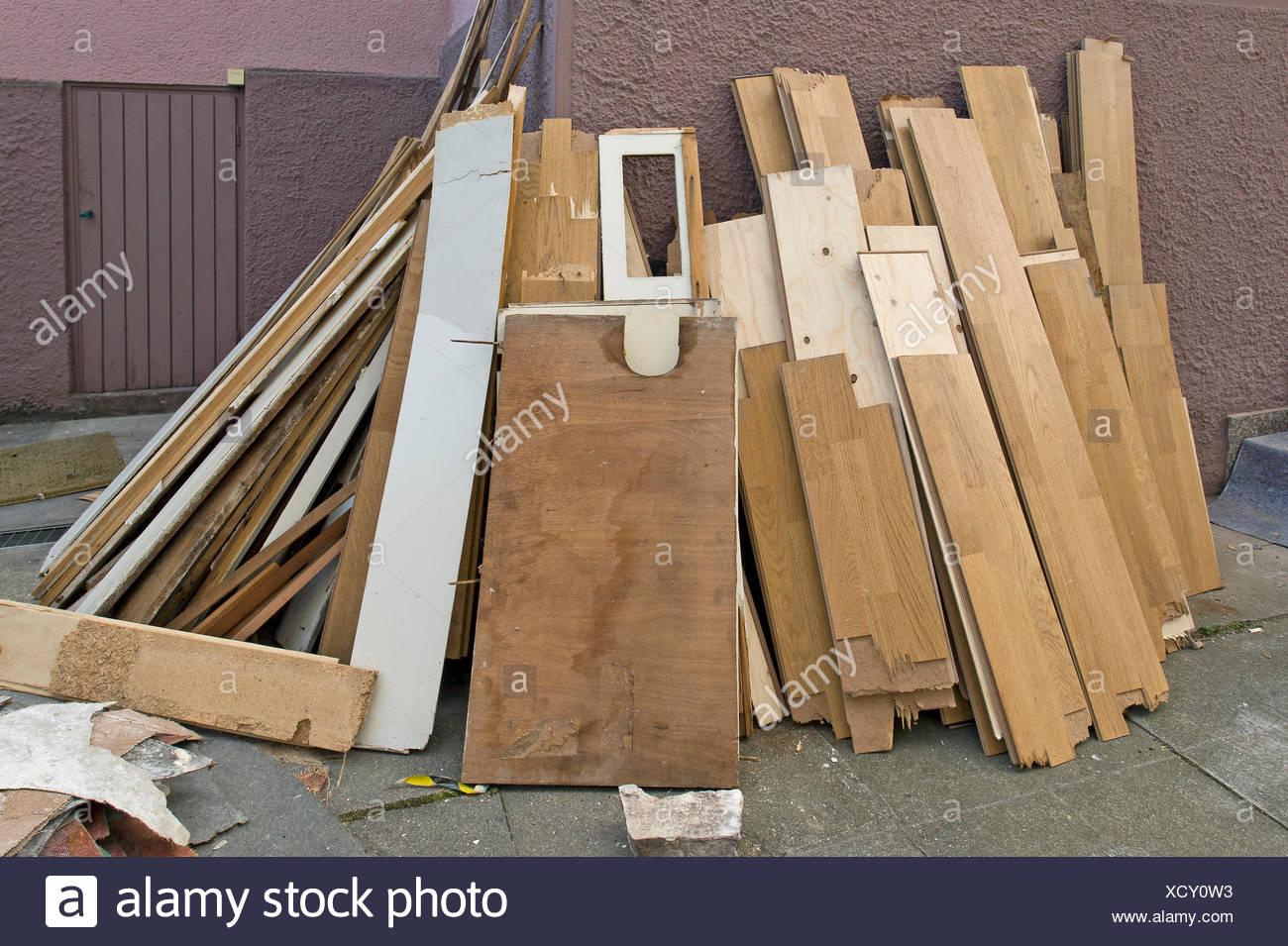 Boards, old parquet flooring, wood, garbage, Stuttgart, Baden-Wuerttemberg - Stock Image