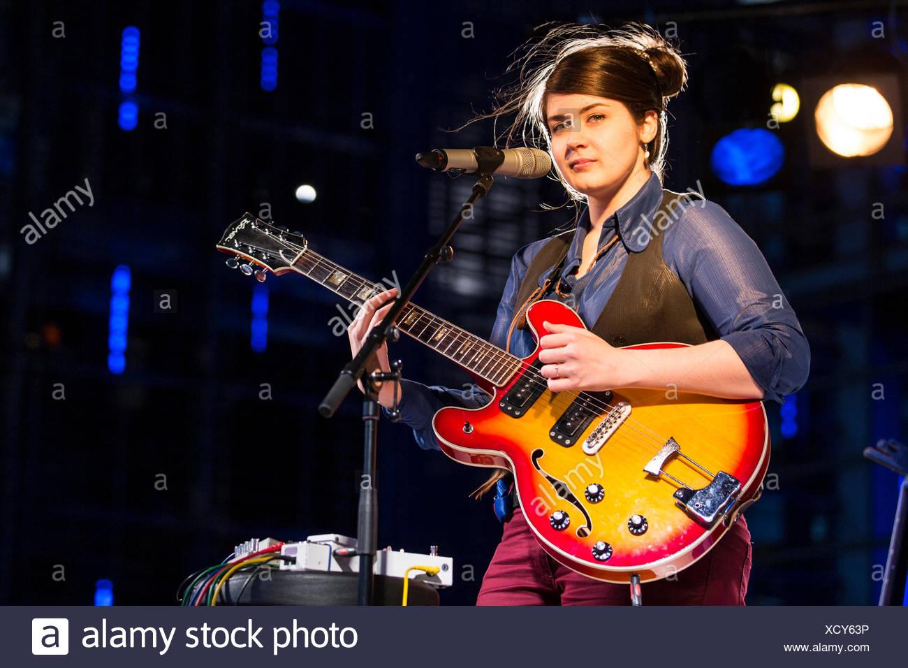 The British folk singer Charlene Soraia playing live outside the KKL Plaza at the Blue Balls Festival, Lucerne, Switzerland Stock Photo