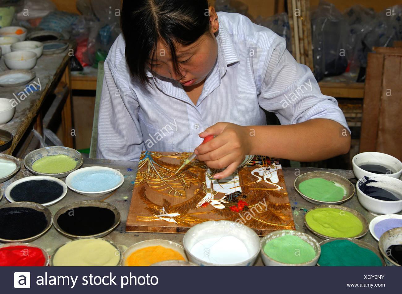Traditional Cloisonné handicraft, China Stock Photo