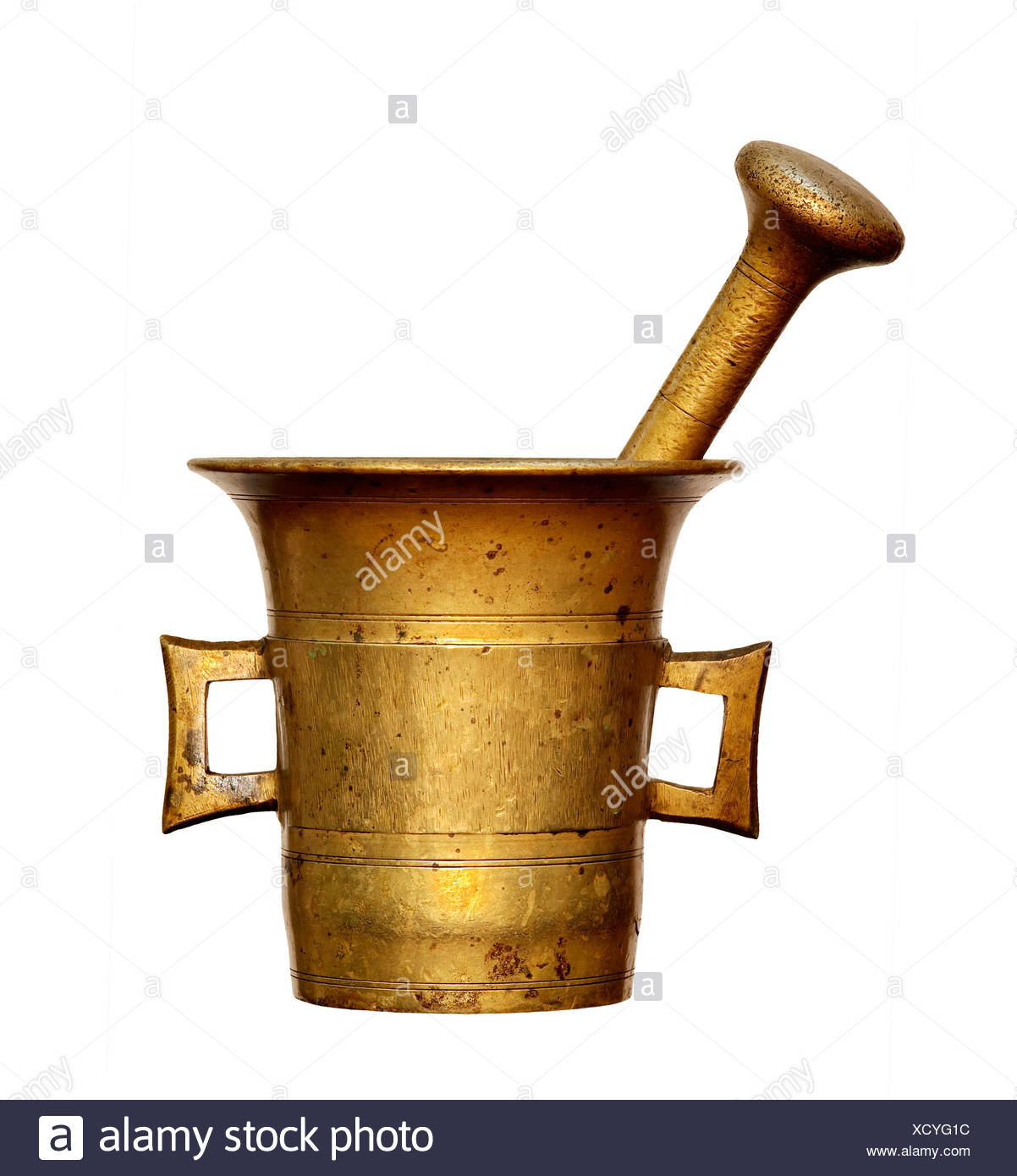 object metal mortar pestle kitchenware alchemy object detail isolated antique - Stock Image