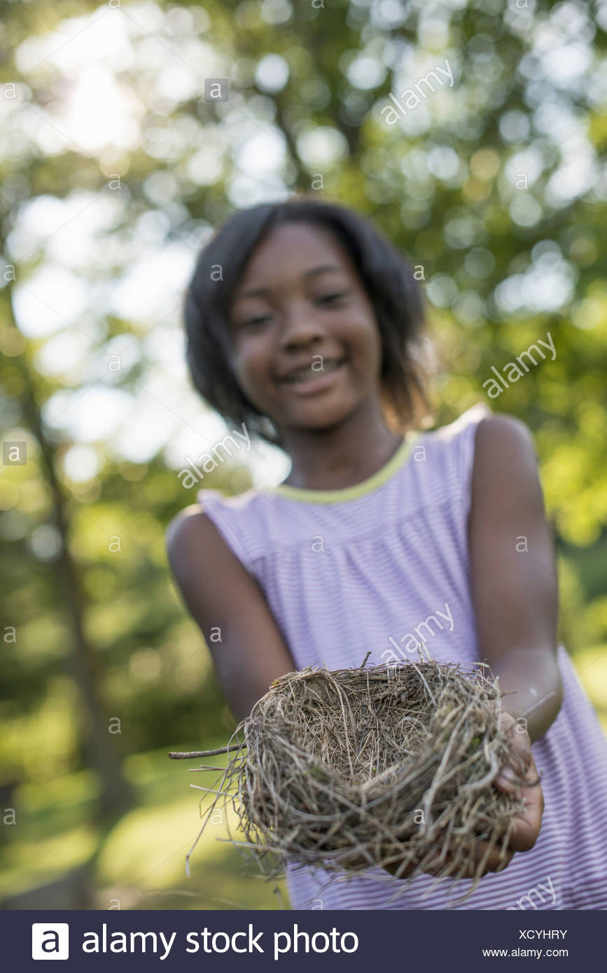 A child a young girl smiling and holding out a bird's nest in her hands - Stock Image