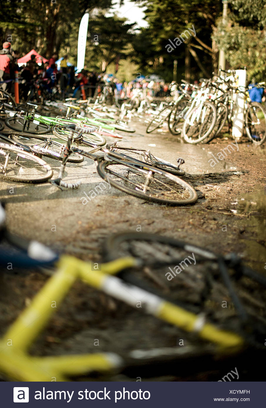 Cyclocross race bikes wait for riders in sf - Stock Image