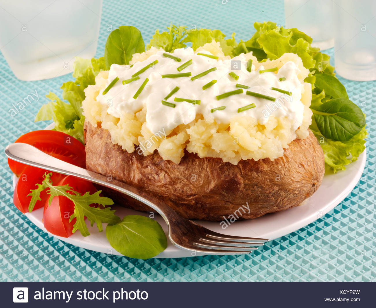 Outstanding Baked Potato With Cottage Cheese And Chives Stock Photo Interior Design Ideas Gentotryabchikinfo