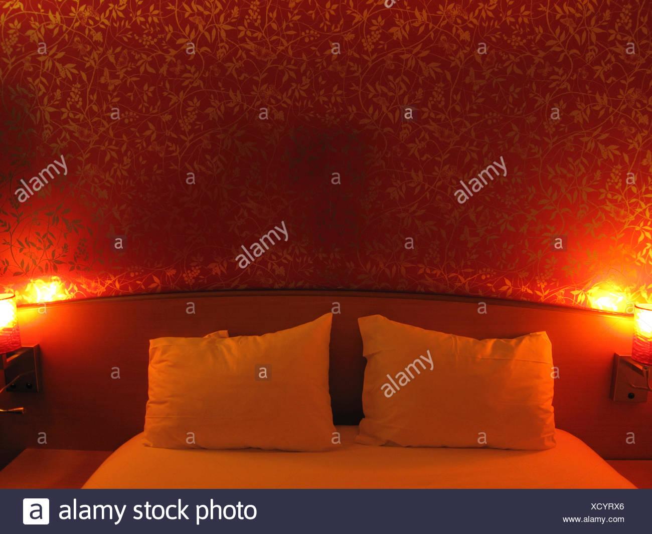 hotel, bedroom, red, room, Bourg en Busse, France, Europe Stock Photo