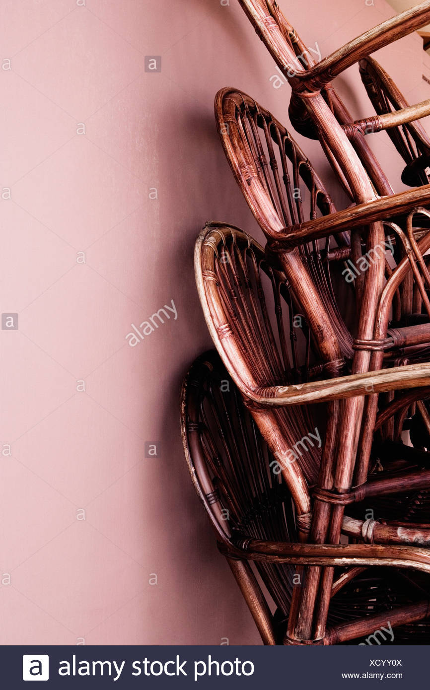Close Up Of A Stack Of Bamboo Chairs In A Store