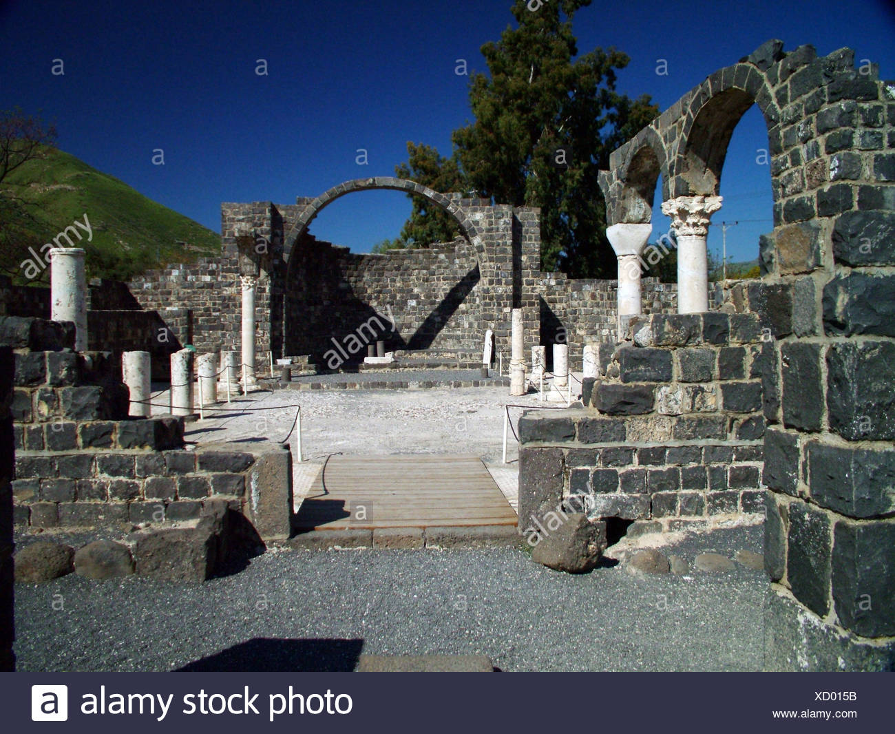 The Byzantine monastery at Kursi Israel - Stock Image