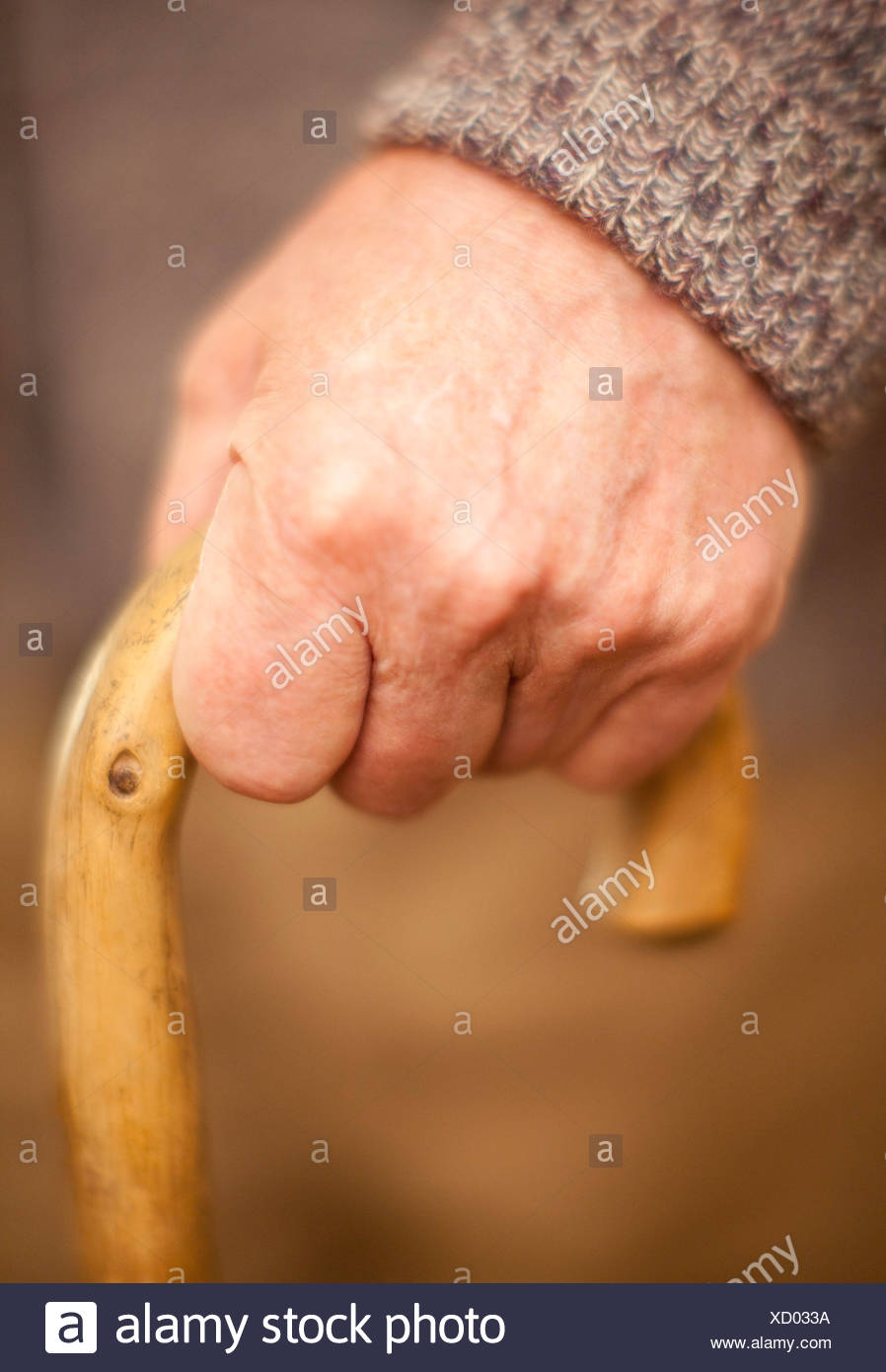 Walking stick use - Stock Image