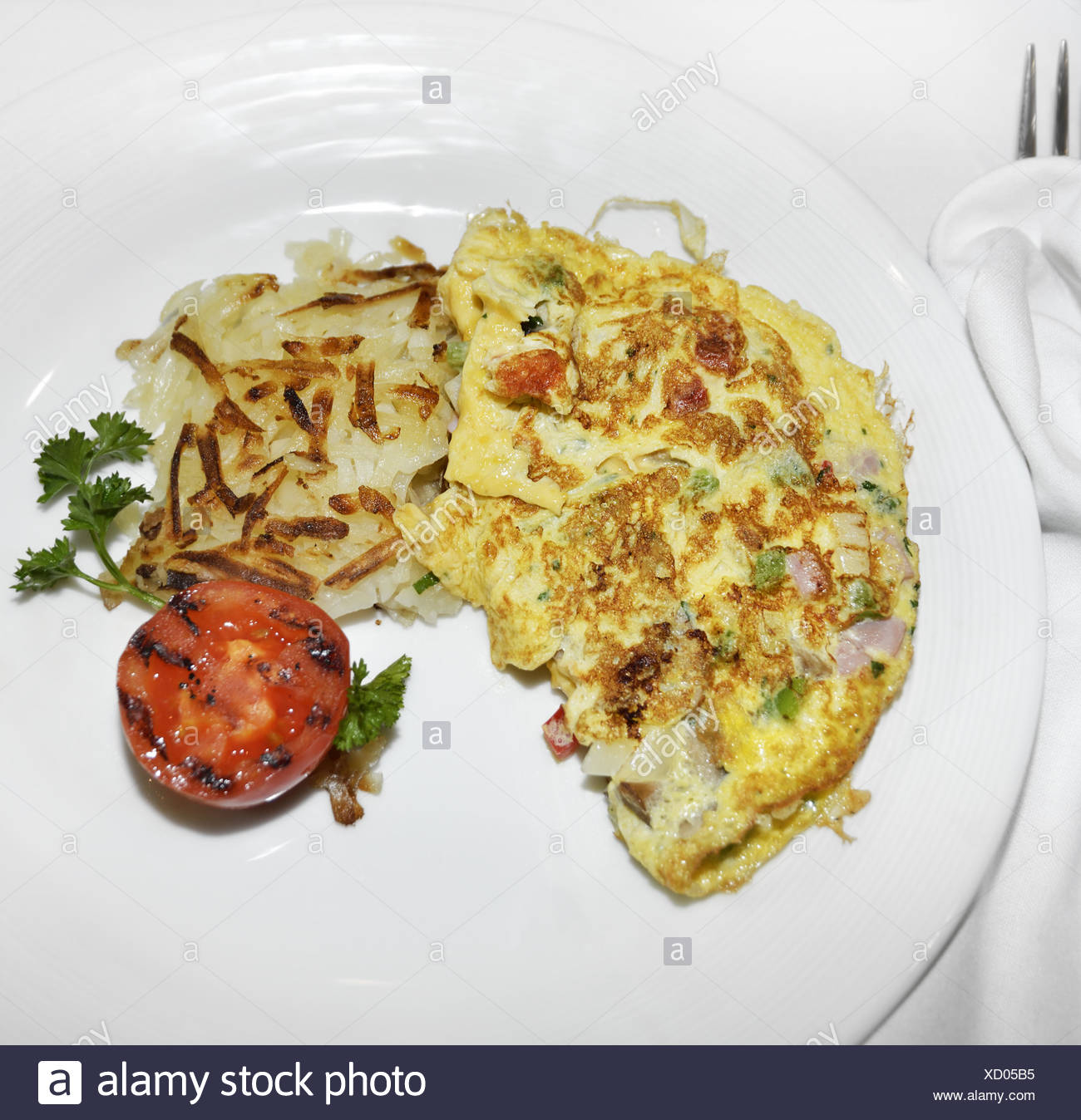 Omelet With Vegetables And Bacon - Stock Image
