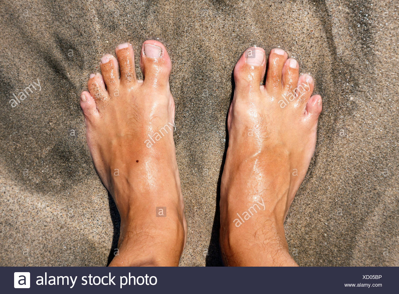 Feet on a beach, being lapped by the sea - Stock Image