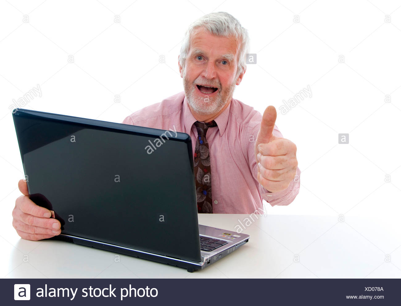 senior with laptop - Stock Image