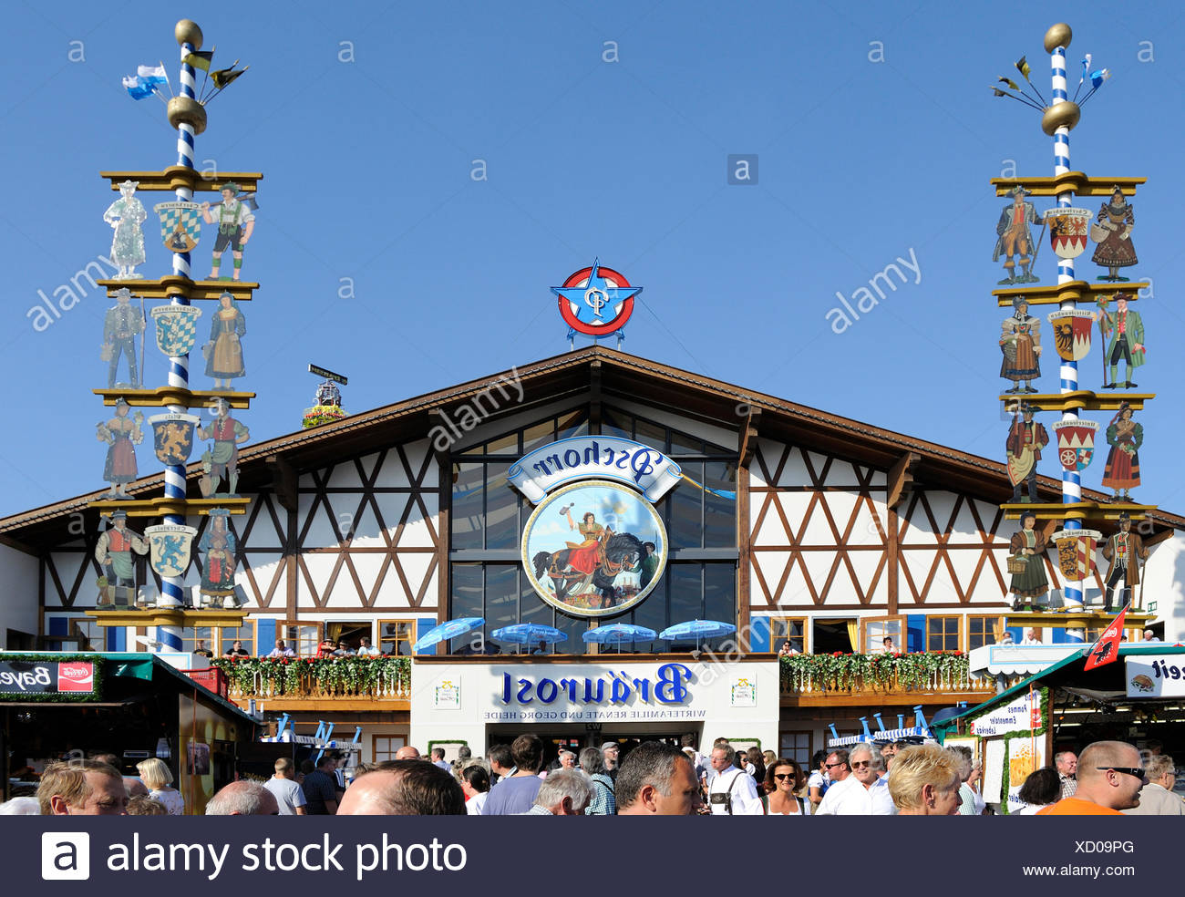 Braeurosl beer hall, Pschorr brewery, Oktoberfest, Munich, Bavaria - Stock Image