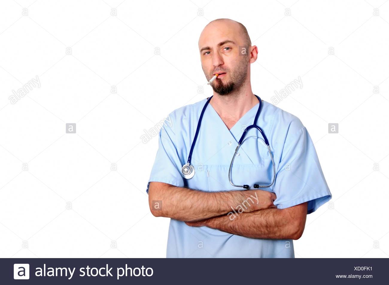 smoking doctor - Stock Image