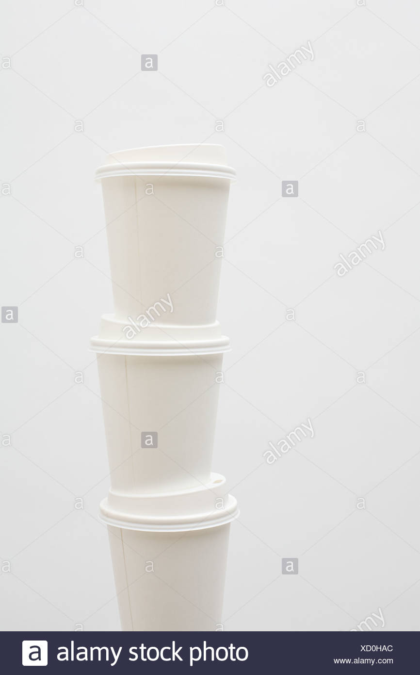 Stack of three paper cups Stock Photo