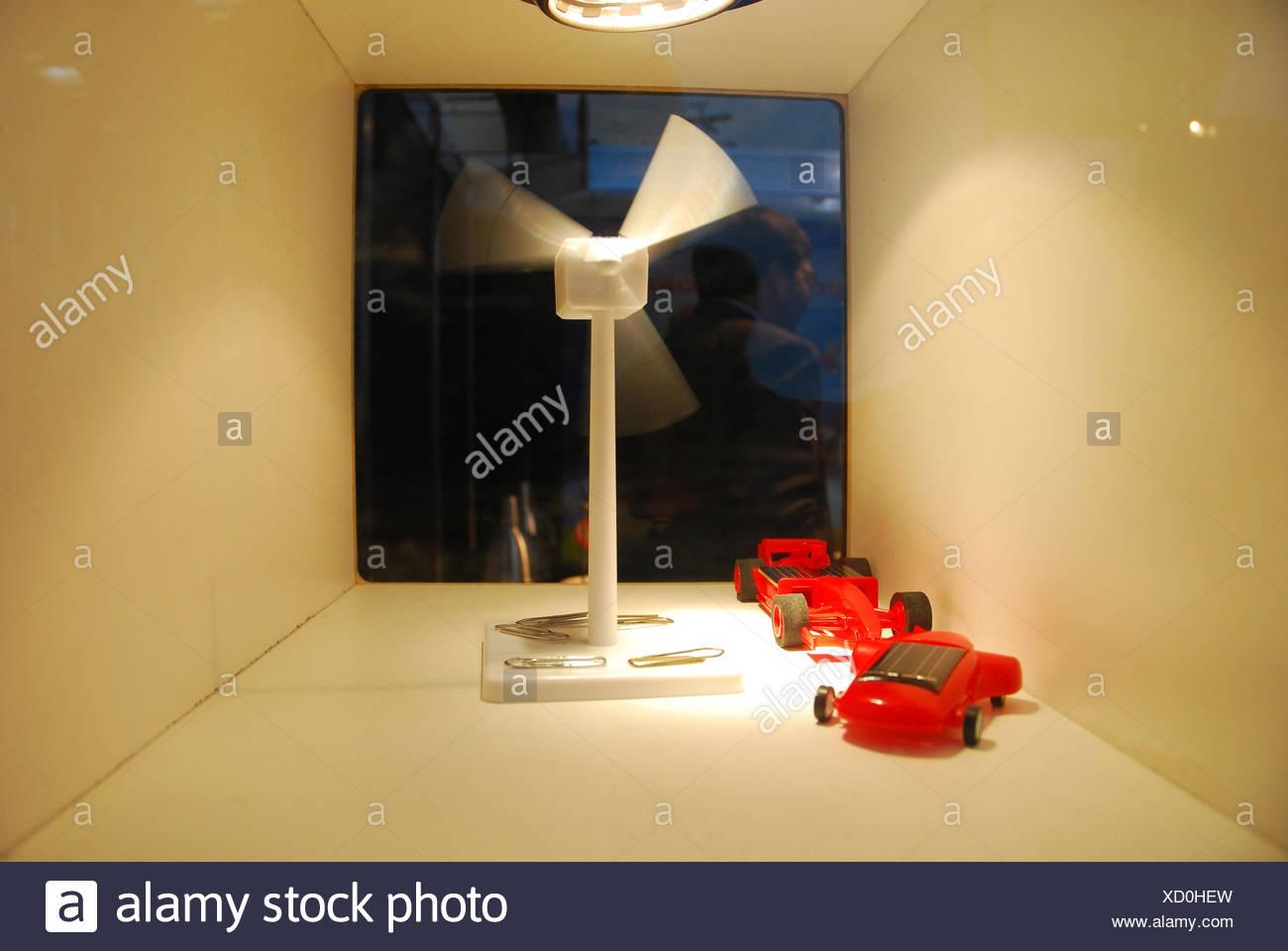 Solar energy, models, wind turbine, solar cars, - Stock Image