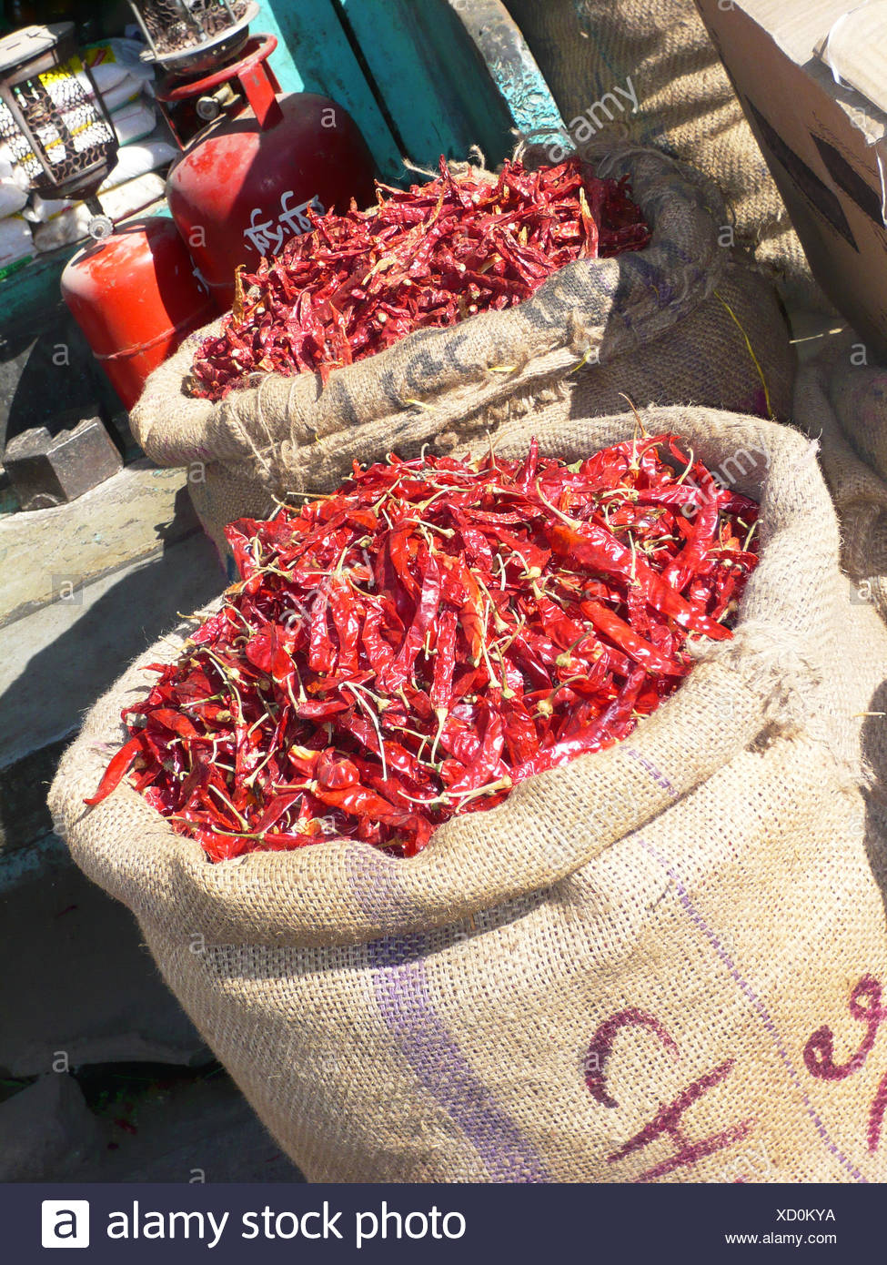 Sacks of red chilis, India - Stock Image